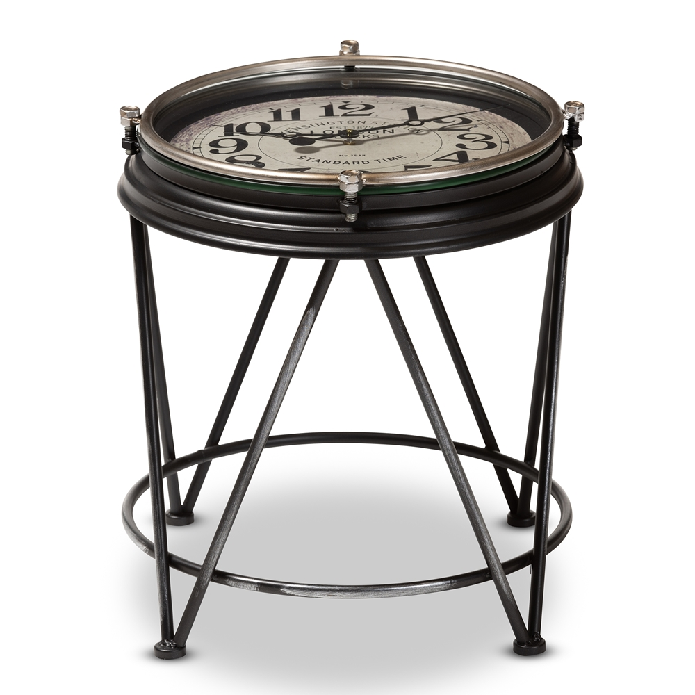 whole living room tables furniture vintage metal accent table baxton studio giles industrial matte black finished with inlaid clock small outdoor entryway storage square