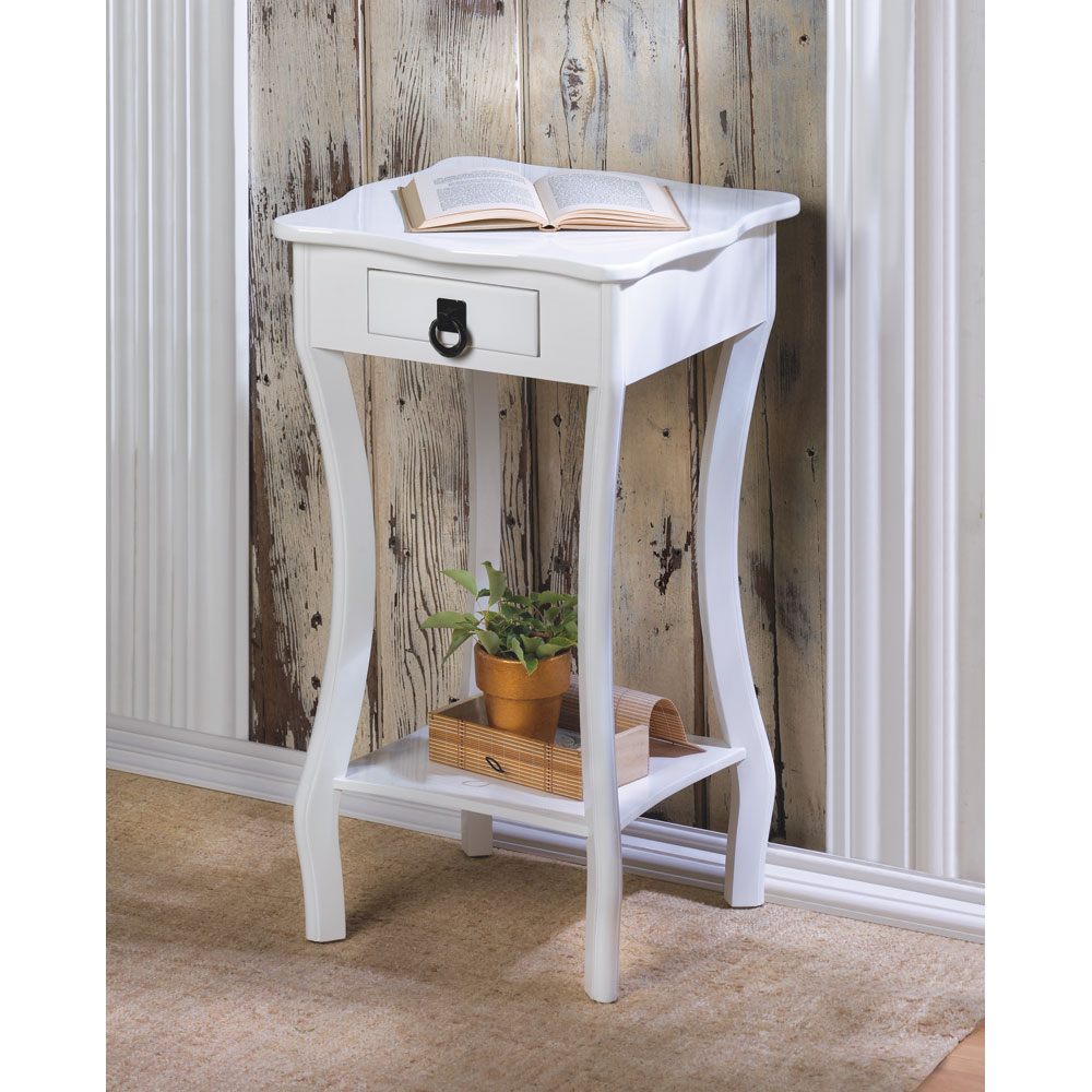 whole white glossy finish accent table tables wood mainstays side italian marble coffee sofa with stools underneath glass for bedroom top occasional silver runner tall pub and