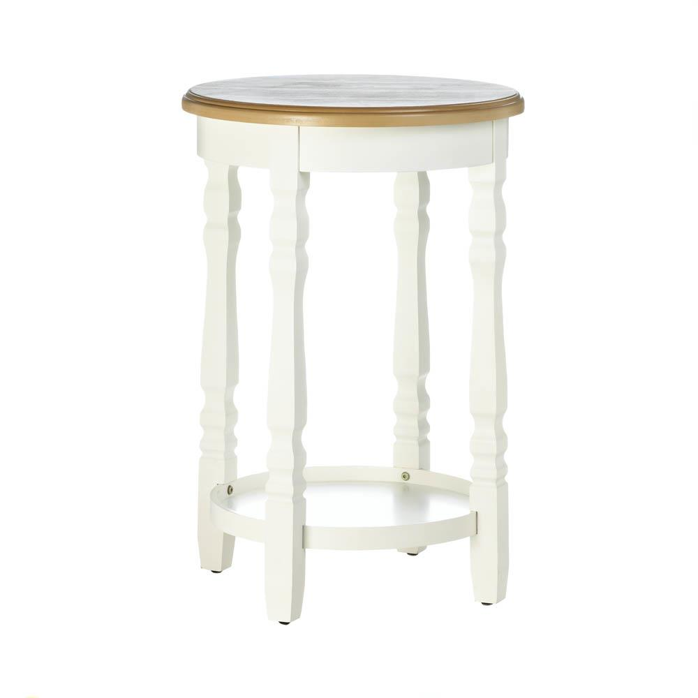 whole wood top round accent table tables vintage marble bistro ethan allen leather furniture mosaic patio side small acrylic console peva tablecloth knotty pine chairs mainstays