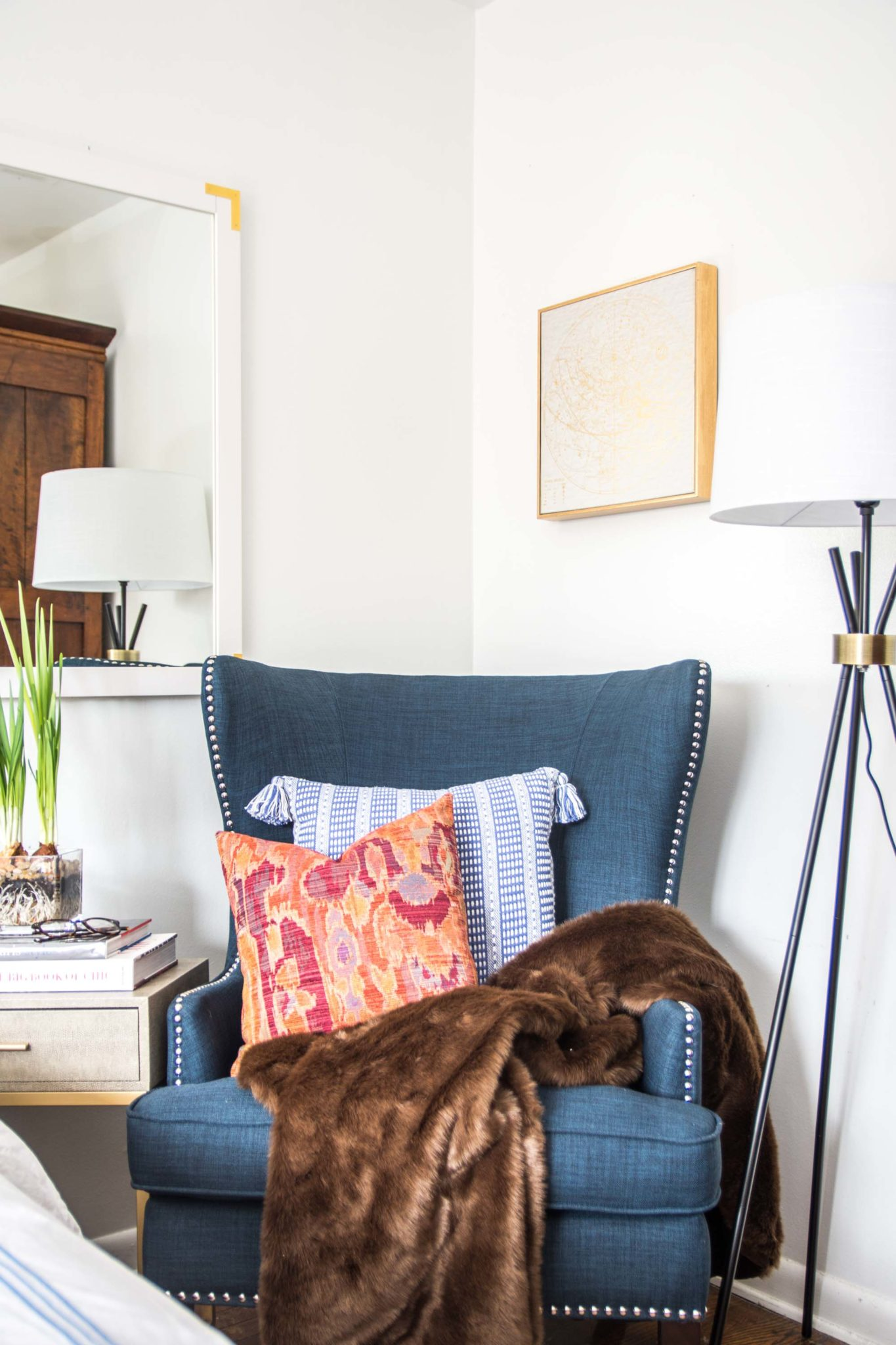 why your bedroom needs accent chair thou swell blue wingback chairs and table gold accents are another motif that tie this corner into the rest room with detail tripod floor lamp