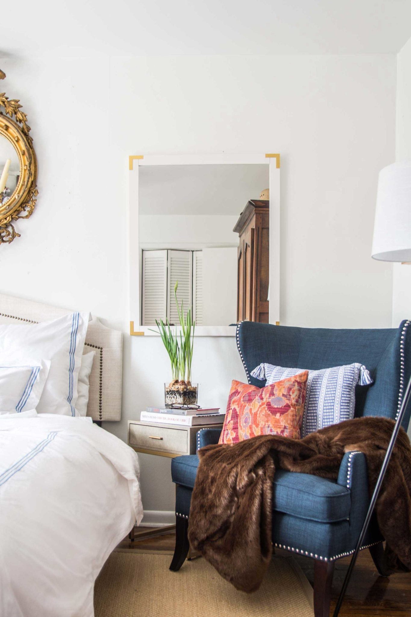 why your bedroom needs accent chair thou swell blue wingback chairs and table this new side room goes beautifully with the swirl lamp fun pillows shared last post just love