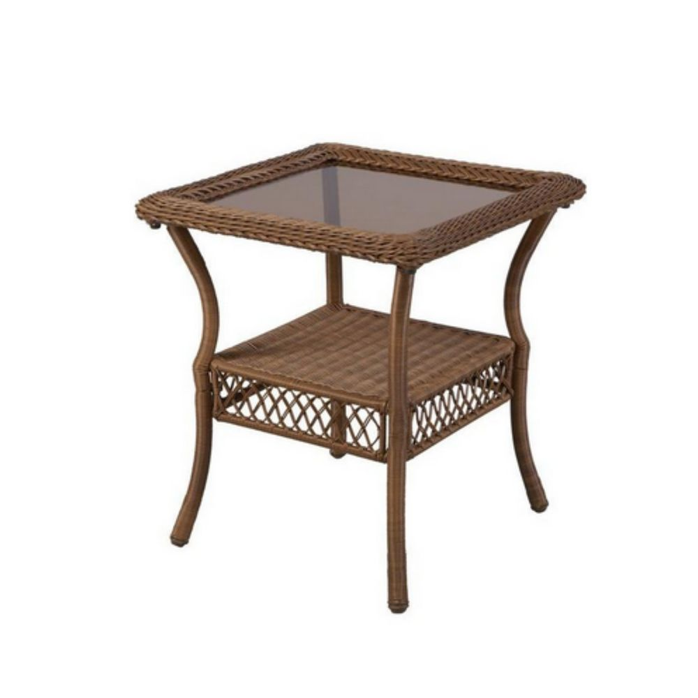 wicker end table indoor square bronze accent modern outdoor patio garden porch center side target wood and metal bedside cabinets cabinet teal entryway pottery barn legs for