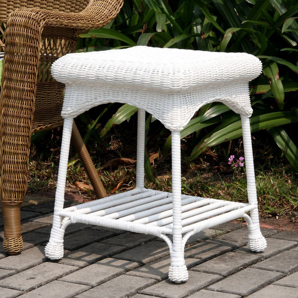 wicker lane outdoor white patio furniture end accent table side tables garden marble dinner black and area rugs round cloth ashley circular cover inch legs glass top nesting pier