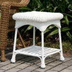 wicker lane outdoor white patio furniture end accent table side tables garden old wood home goods linens foot umbrella kirklands lamps blue and west elm tripod clear acrylic 150x150