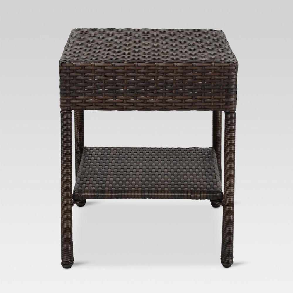 wicker patio accent table brown threshold small metal outdoor side tiffany butterfly lamp original williams sonoma floor living room cabinets cooking gray nesting tables ikea cube