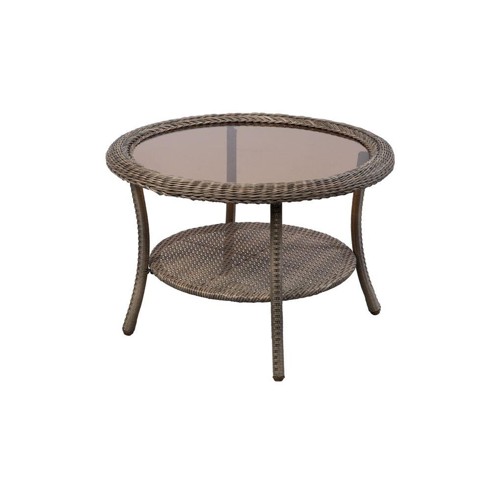 wicker patio tables furniture the hampton bay outdoor coffee accent table spring side with storage counter height dinette sets black dining room set bunnings long skinny large