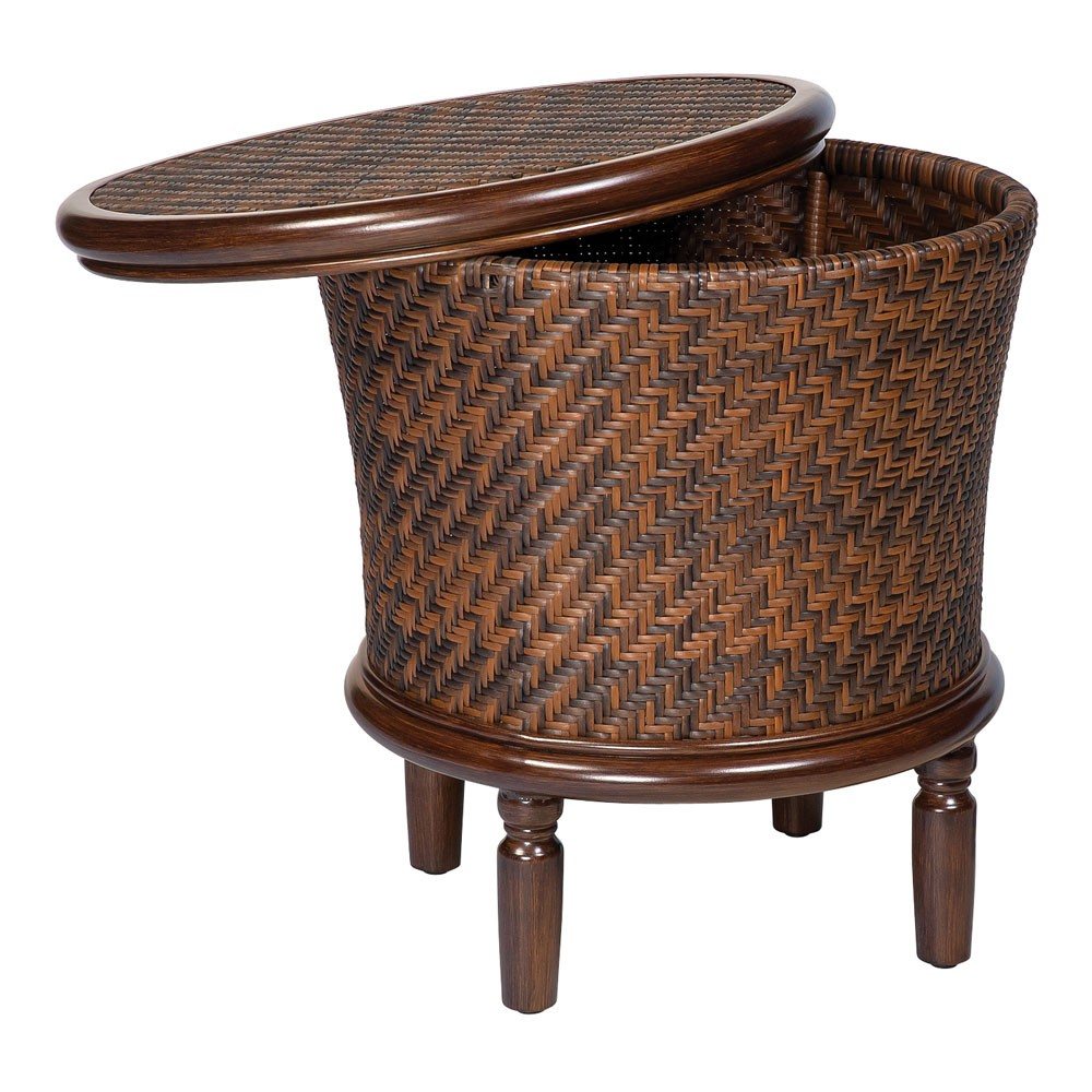 wicker storage accent table threshold target mosaic whitecraft woodard north shore round end rattan battery operated dining room light chalk paint coffee gold drum telephone bar