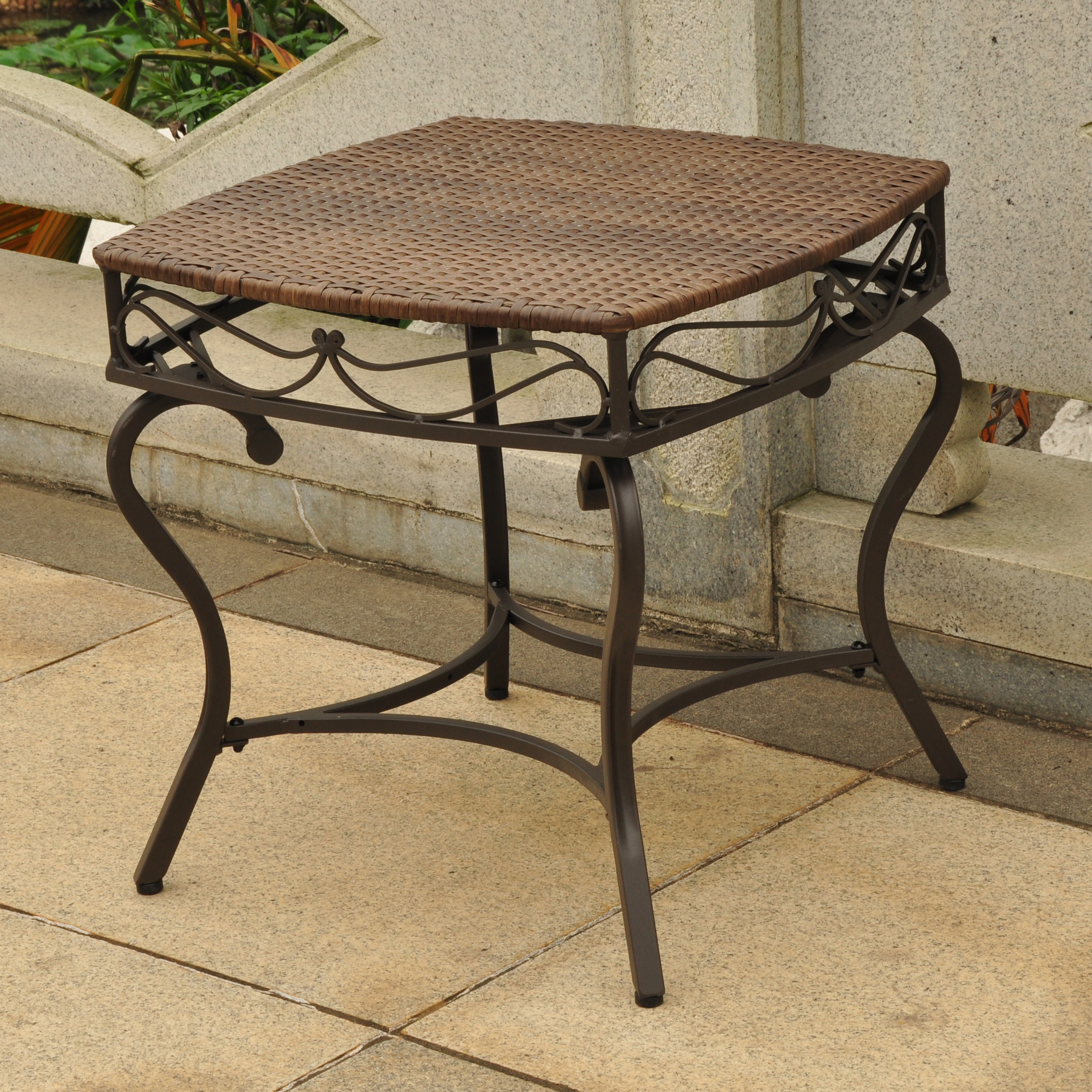 wicker tables abn foldable accent table brown valencia resin steel square round side antique quick view unique entryway west elm elephant lamp circular garden furniture covers