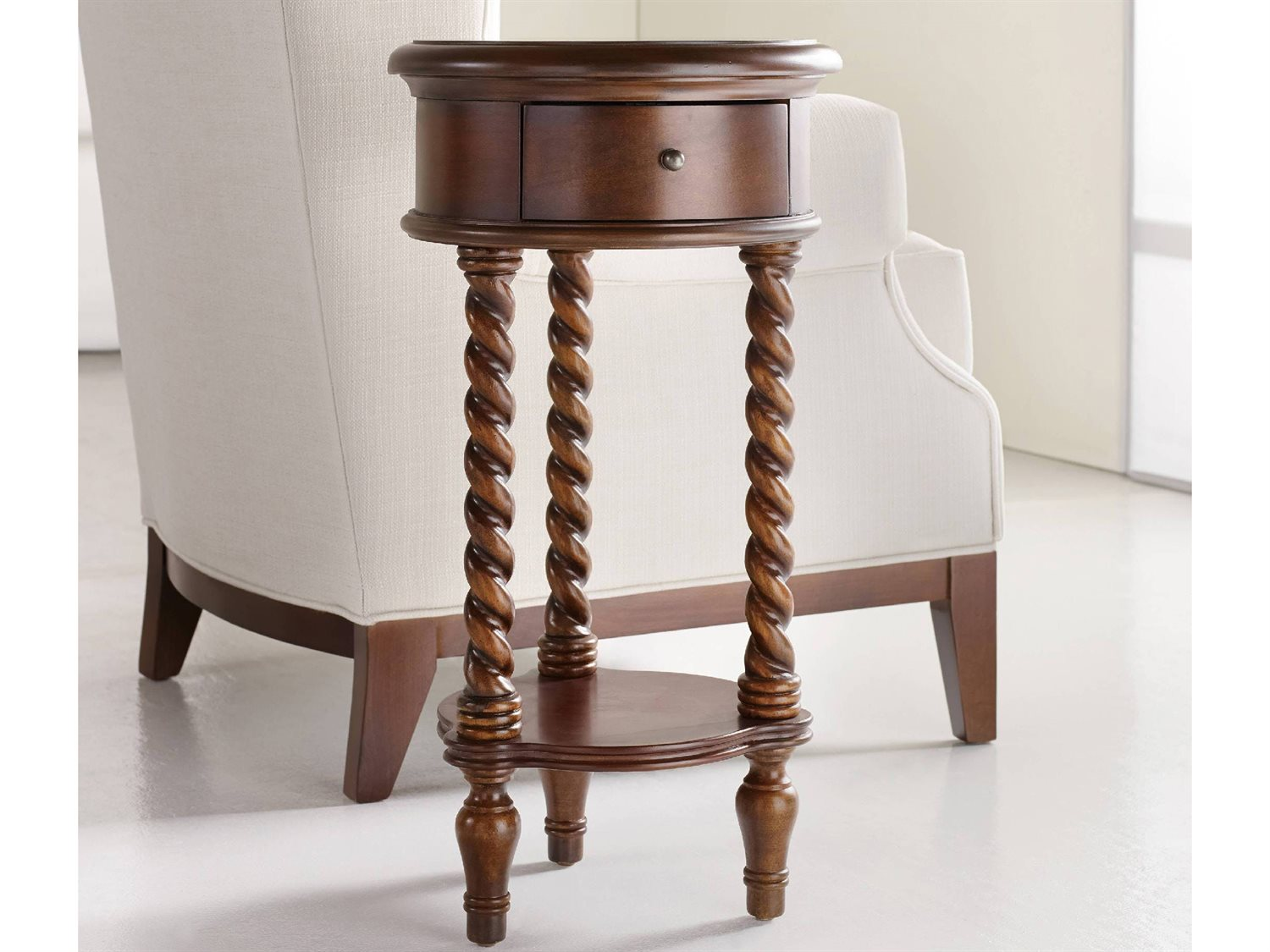 wide round accent end table hooker furniture maple cherry chestnut bunnings trestle chair design square repurposed doors small coffee with storage home accessories drum throne