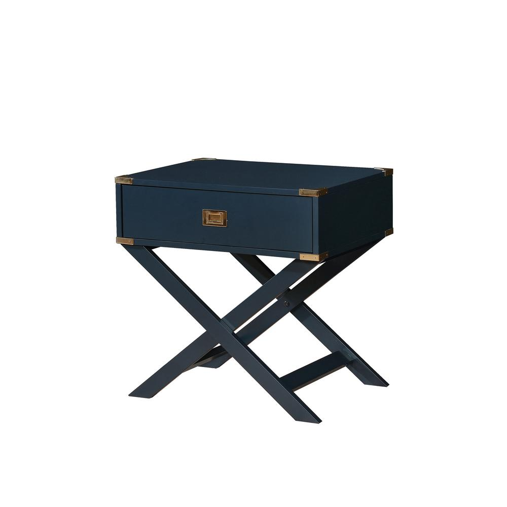 williams import goodyear blue side table with gold corner accent end tables storage shaped legs and felt lined drawer the white gloss nest bench seat round covers for bedside