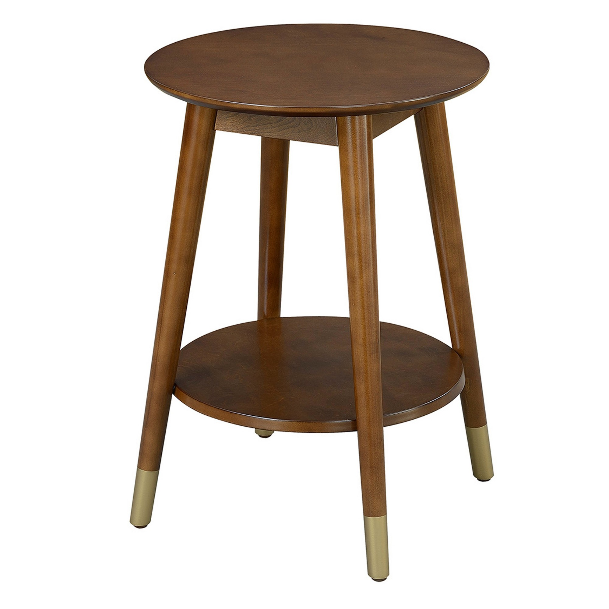 wilson mid century round end table with bottom shelf espresso accent johar furniture brown stackable side tables center decor pub set bedroom packages ashley desk pier one imports