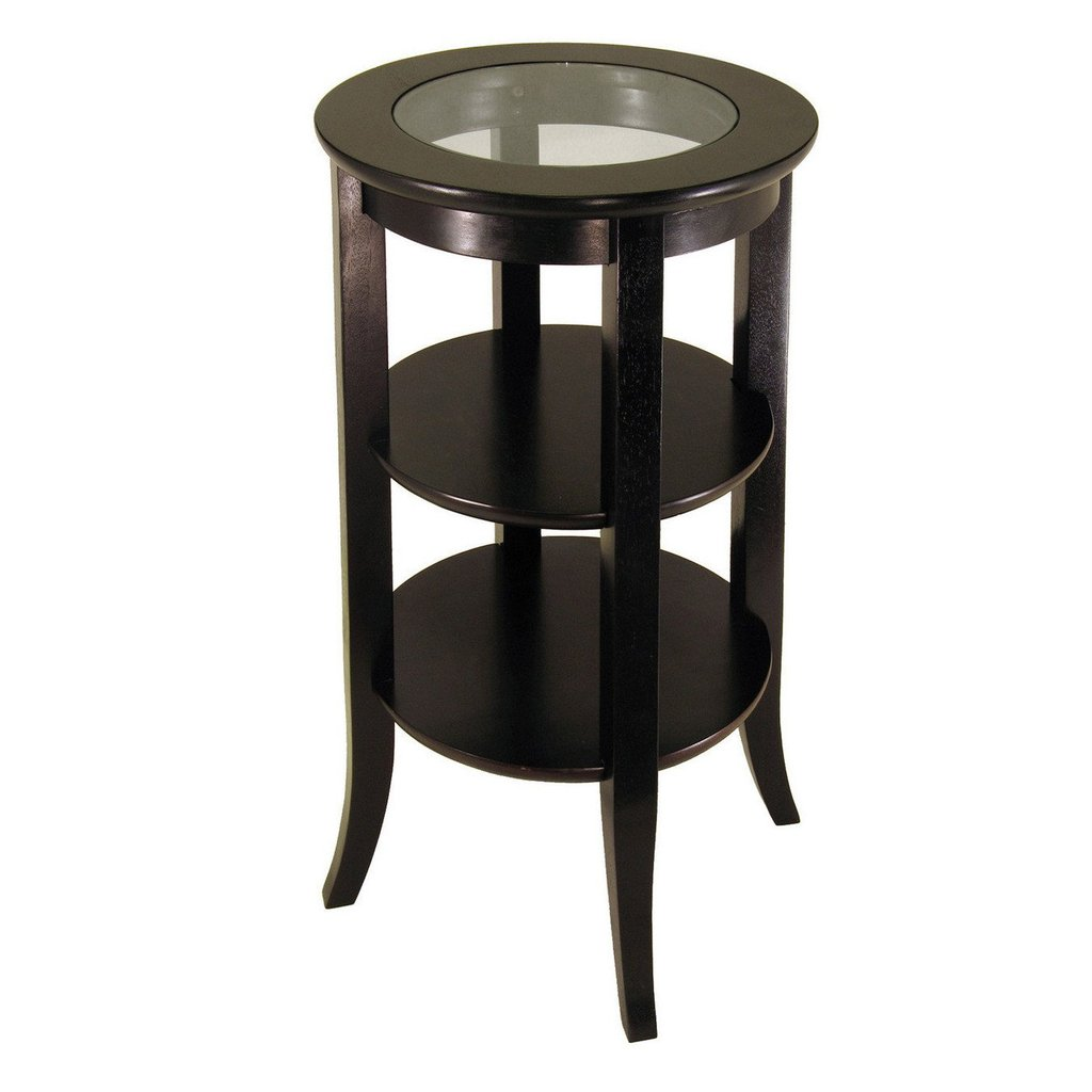 win wood genoa accent table inset glass two shelves attractive winsome walnut battery operated indoor lamps home pine end tables ikea patio target tufted chair console with