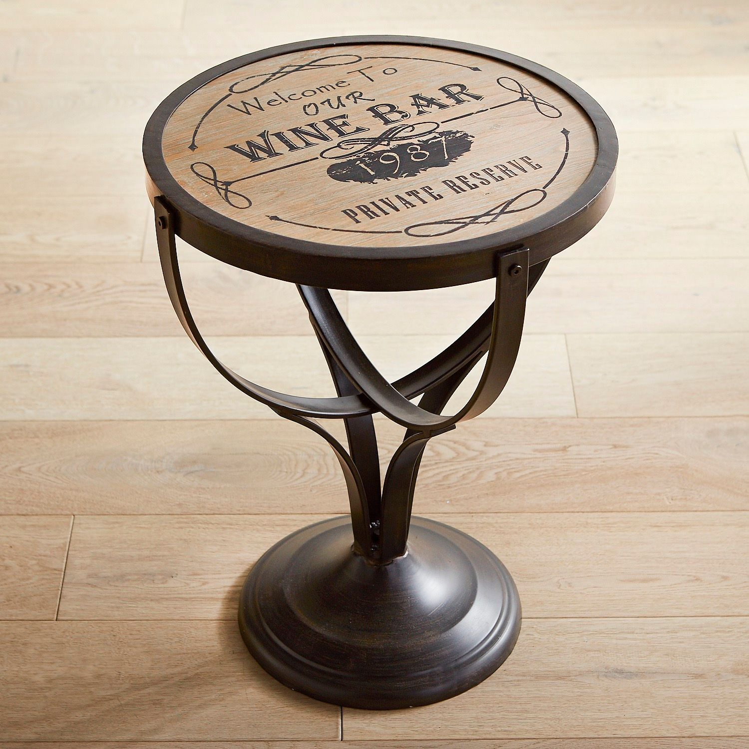 wine bar round accent table pier imports metal and wood wrought iron end tables coffee marble granite rope accessory furniture decorative chairs blue quilted runner chest drawers