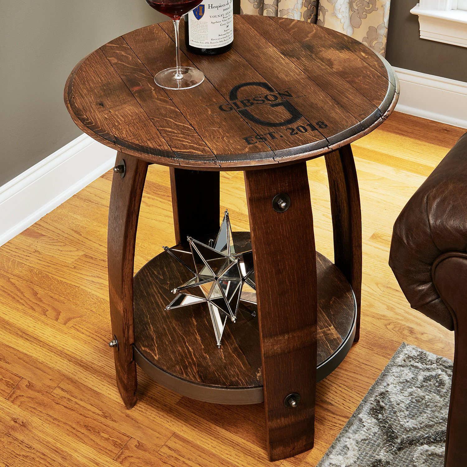 wine barrel end table enthusiast accent espresso color coffee patio dining sets with umbrella device charging chest for bedroom industrial style side hardwood floor threshold grey