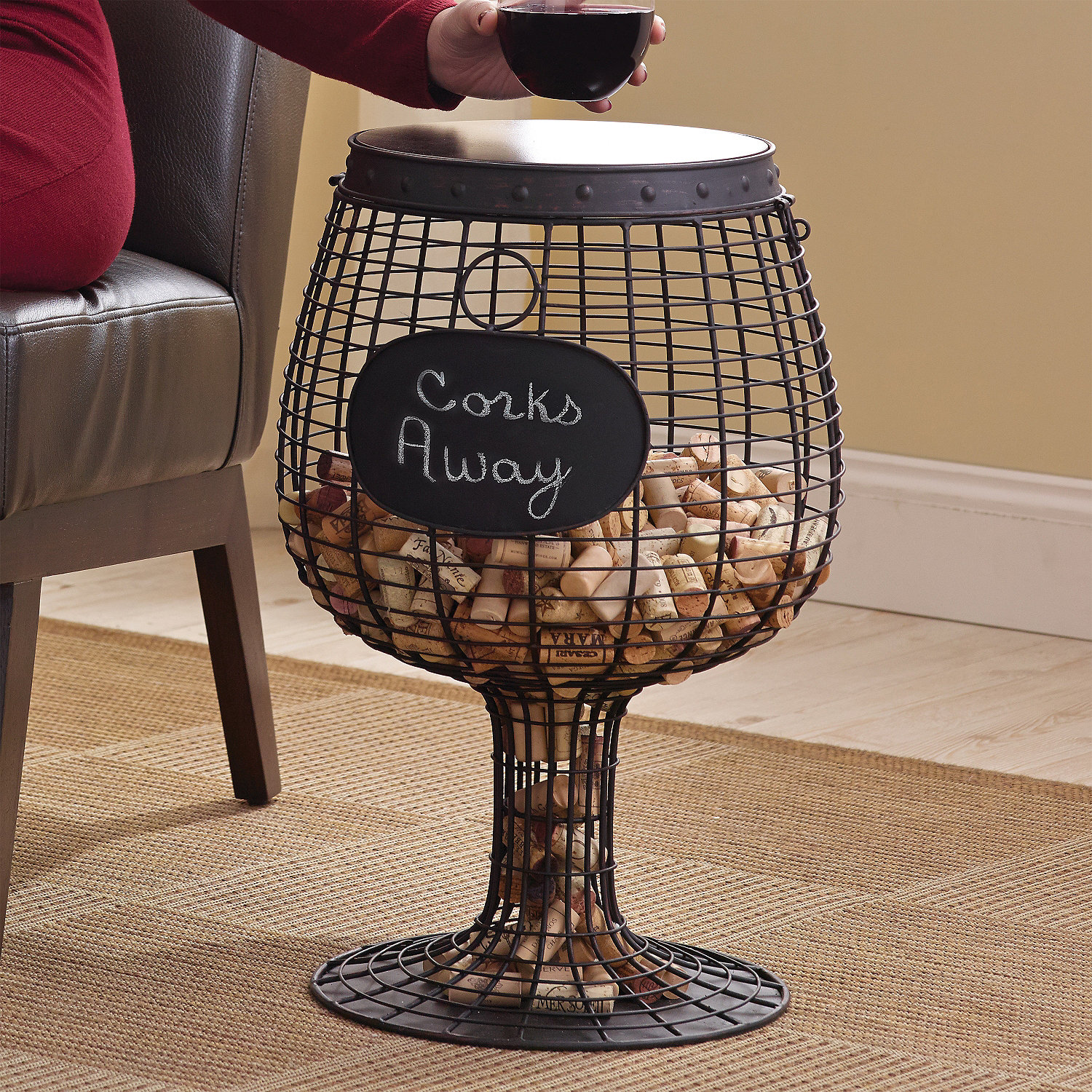 wine glass cork catcher accent table enthusiast with rack small round pedestal side decorative clocks ikea kids storage boxes white xmas runners style chairs large lamp shades