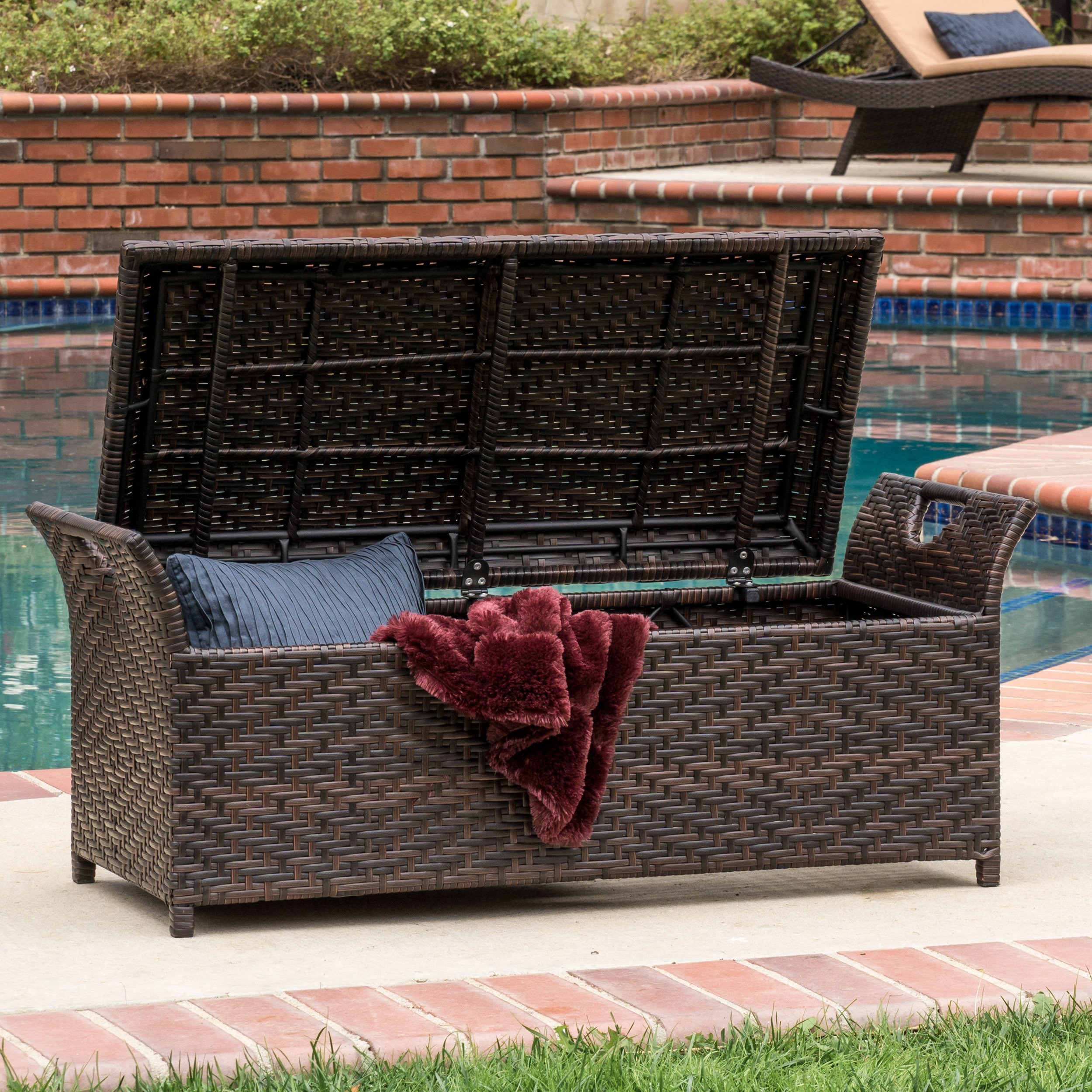wing outdoor wicker storage bench christopher knight home accent patio table dale tiffany dragonfly lamp shade collapsible trestle wall unit furniture plexi coffee over the couch