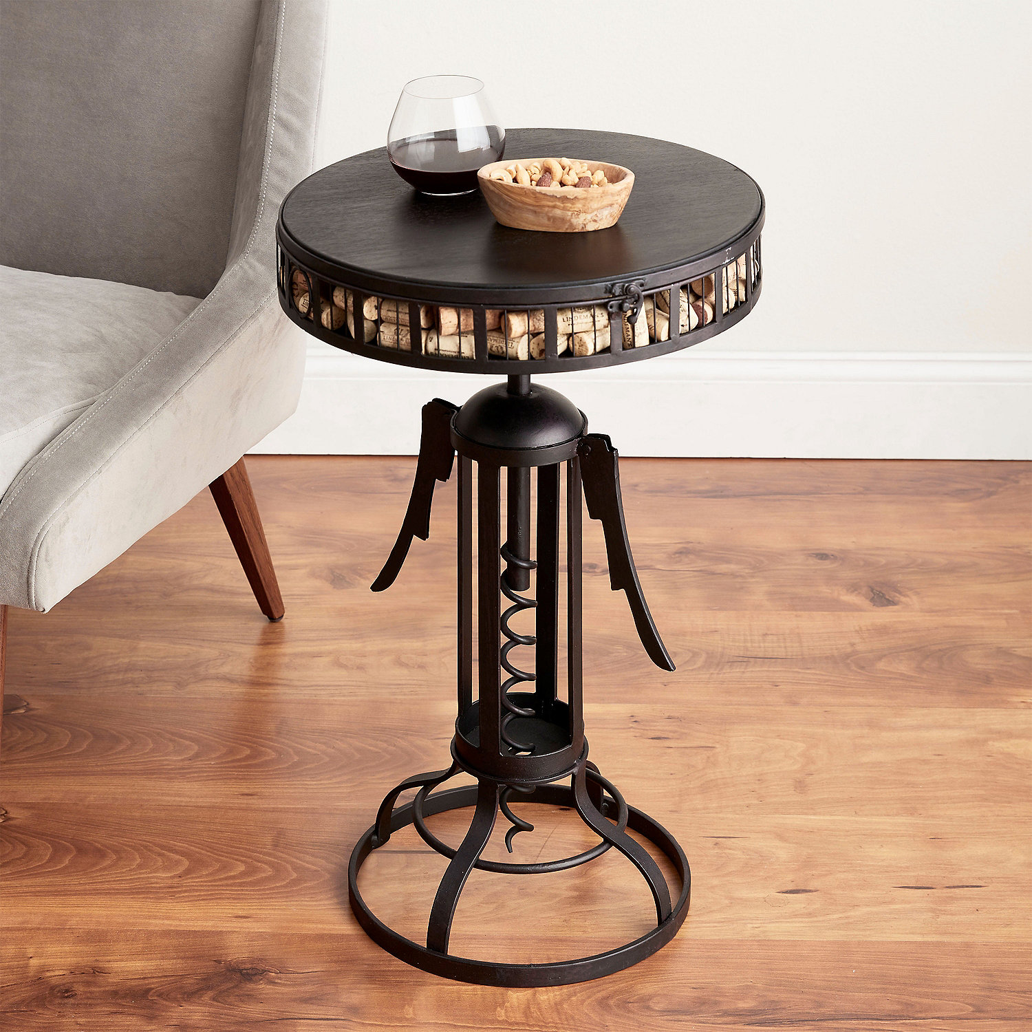 winged corkscrew cork catcher accent table wine enthusiast decor zebra furniture outdoor mosaic bistro and chairs ikea accessories white wicker cement top small round black glass