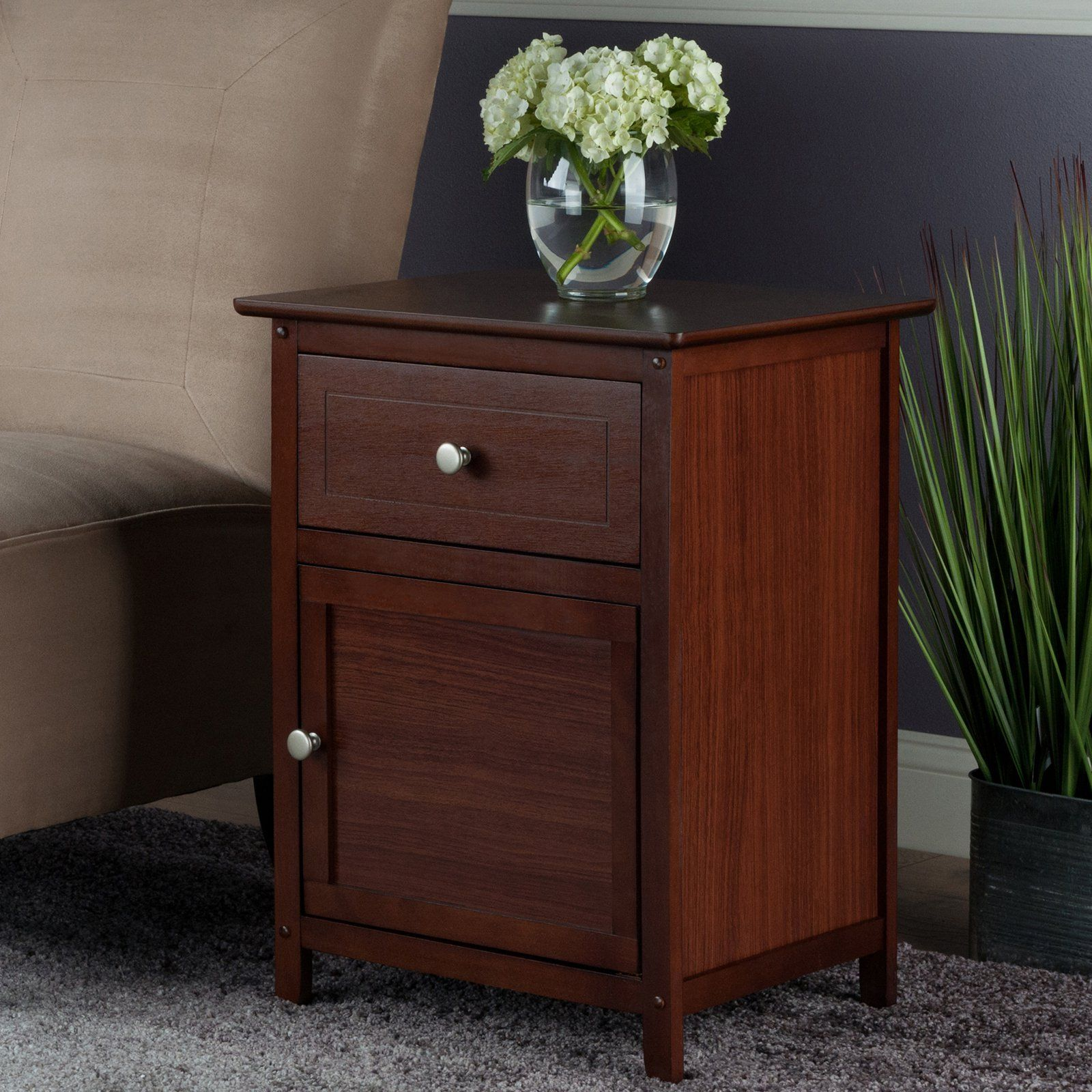 winsome accent table with drawer and cabinet products eugene white bistro side target curtain rods furnishing small spaces resin nic timber trestle cherry wood coffee end tables
