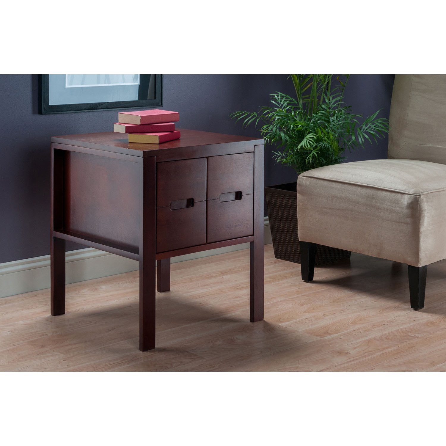 winsome bora front facing accent table with slide out shelves end instructions free shipping today pink cocktails kitchen lamp half moon rustic wood fine linens box side bins ikea