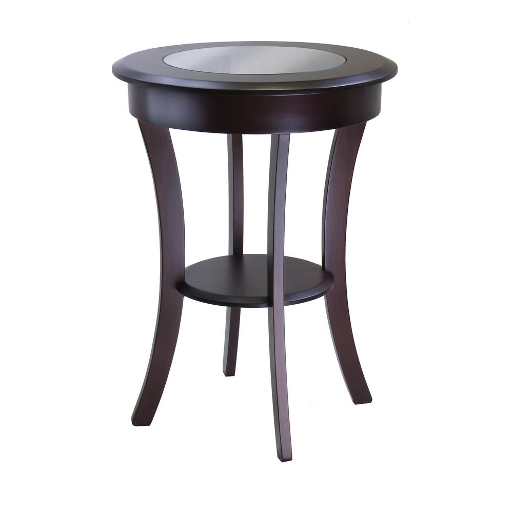winsome cassie round accent table with glass the cappuccino end tables bayside furnishings cabinet tier side cool coffee high bedside eames chair replica pier one dining sets