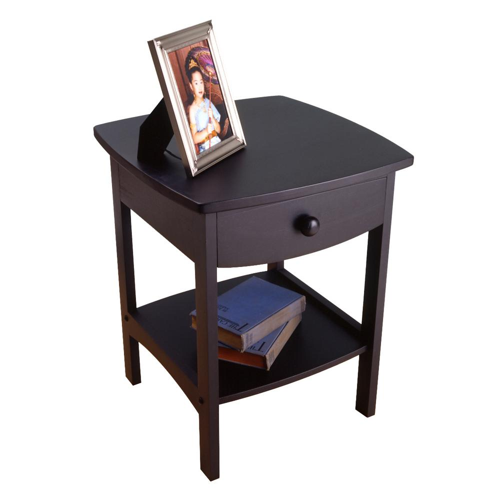 winsome claire accent table black finish the nightstands instructions storage cabinets with doors and shelves modern industrial end tables rustic wood grey dining set tall crystal