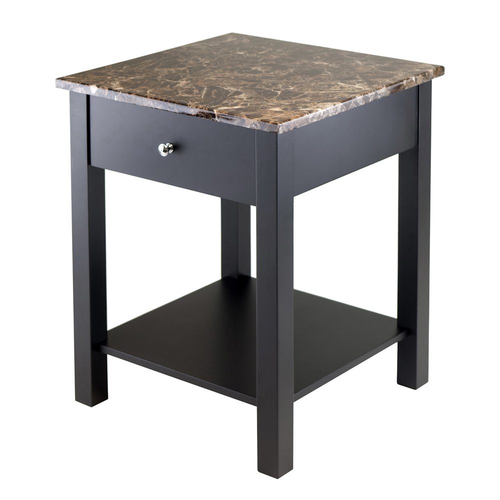 winsome daniel accent table with drawer silver wood torri atg black finish whole tablecloths for weddings mid century sofa perspex side pottery barn coffee two nesting tables