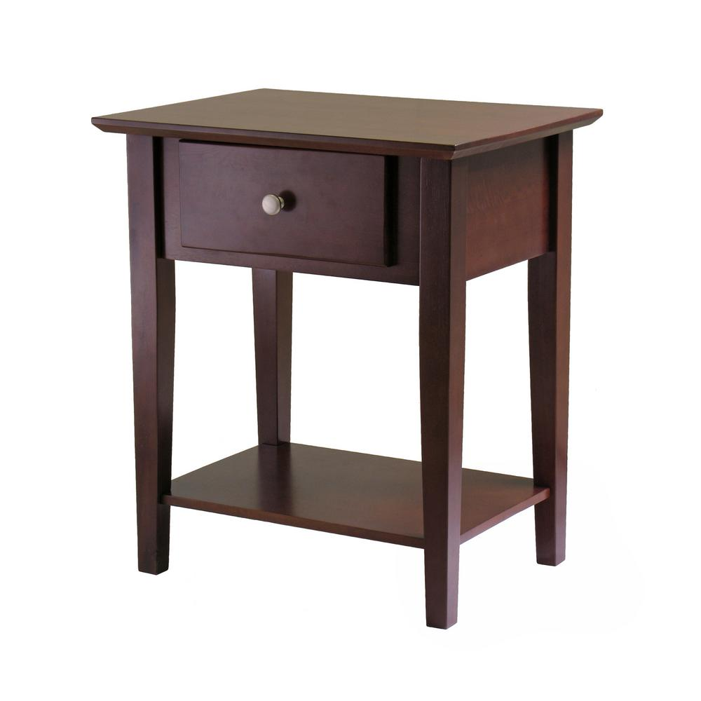 winsome furniture the walnut nightstands daniel accent table with drawer black finish shaker night stand small desks for spaces skinny glass counter height console bookshelf doors