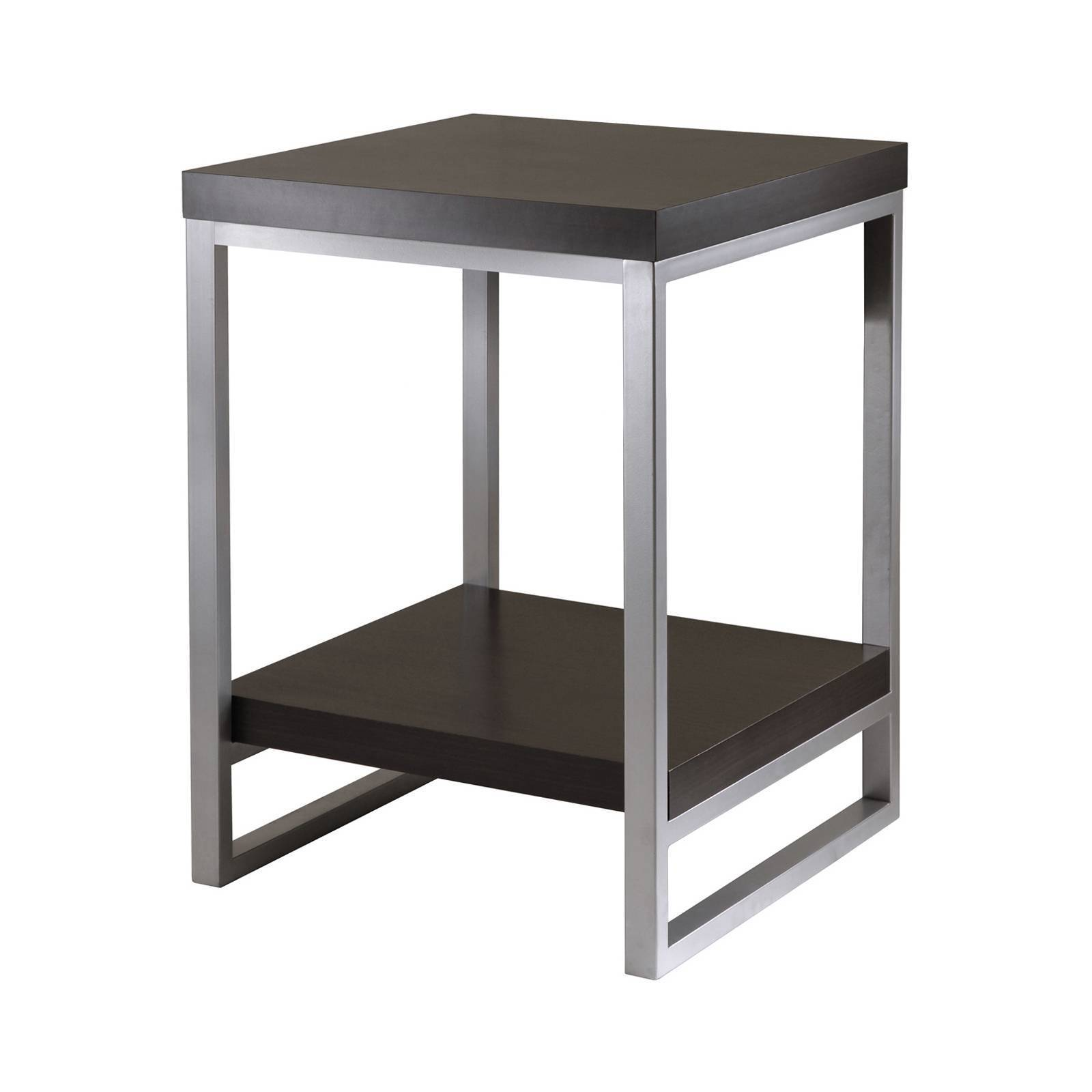 winsome jared enamel steel tube dark espresso finish end table wood with drawer and shelf black ture tall thin side blue bernhardt cocktail winter dog house plans red outdoor