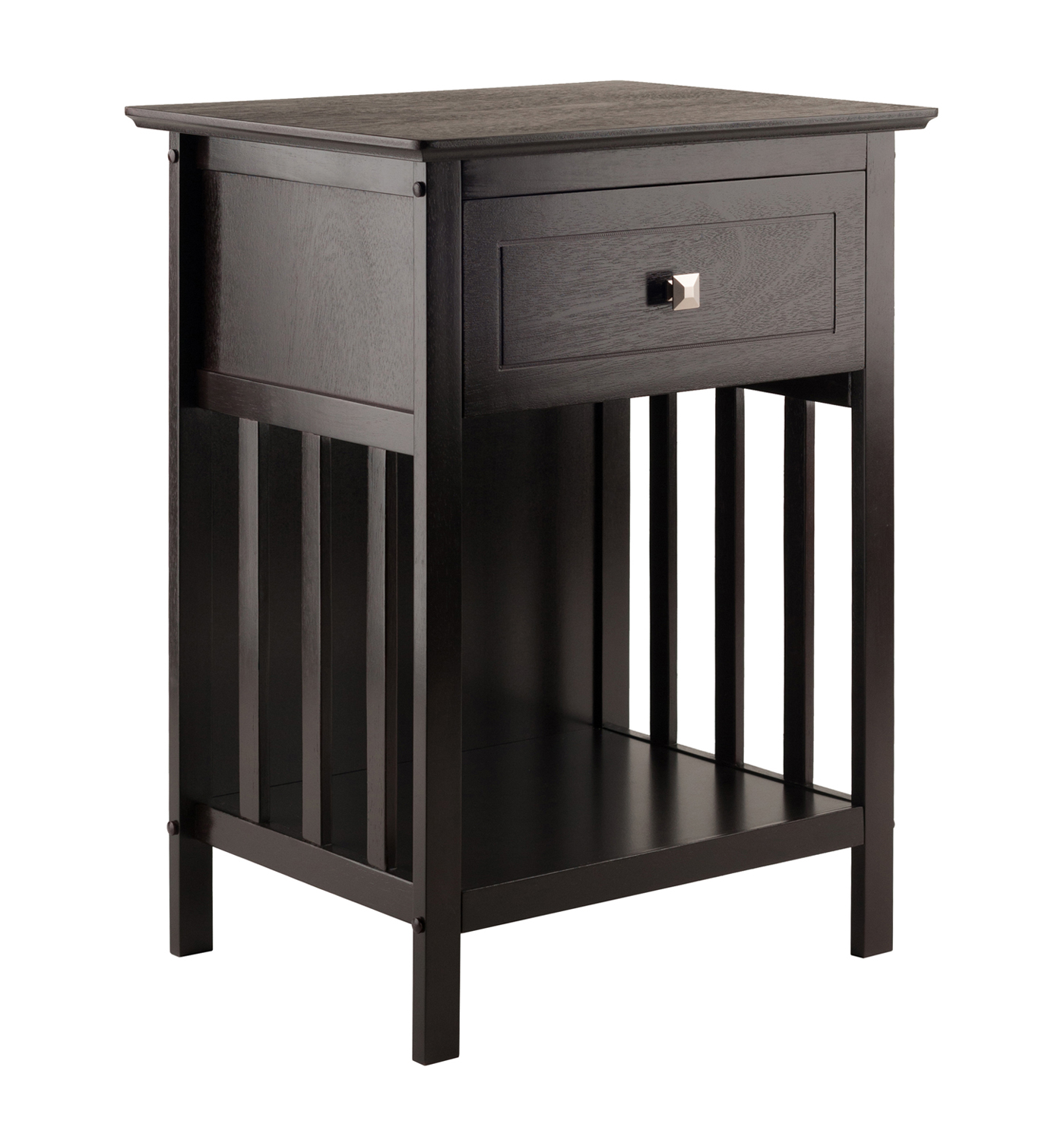 winsome marcel solid and composite wood accent table gray with drawer coffee finish white bedside cabinets gallerie coupon set red home accessories black marble dining patio
