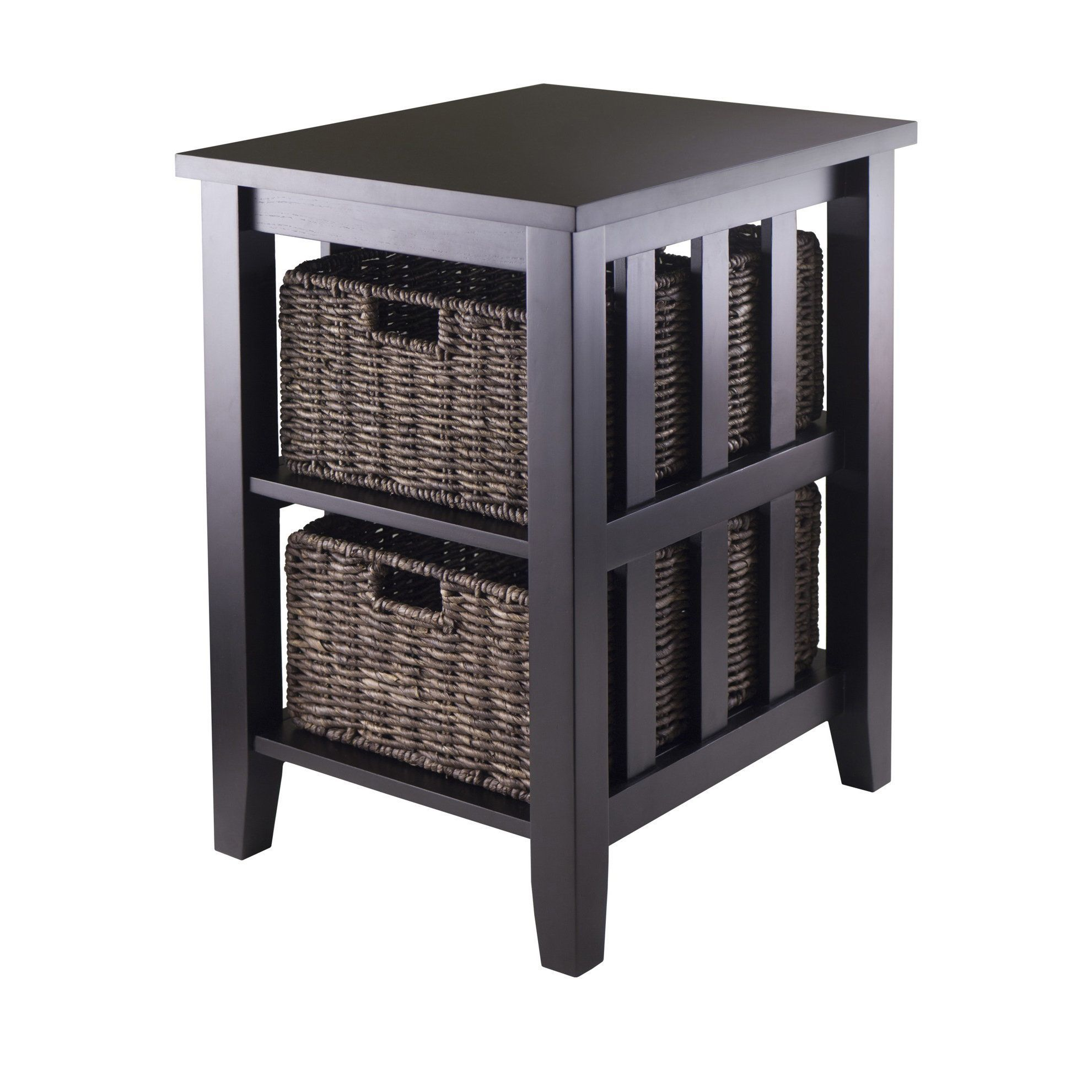 winsome morris espresso brown wood side table with foldable wicker accent baskets dark narrow outdoor dining small concrete round living room oak glass coffee circular garden