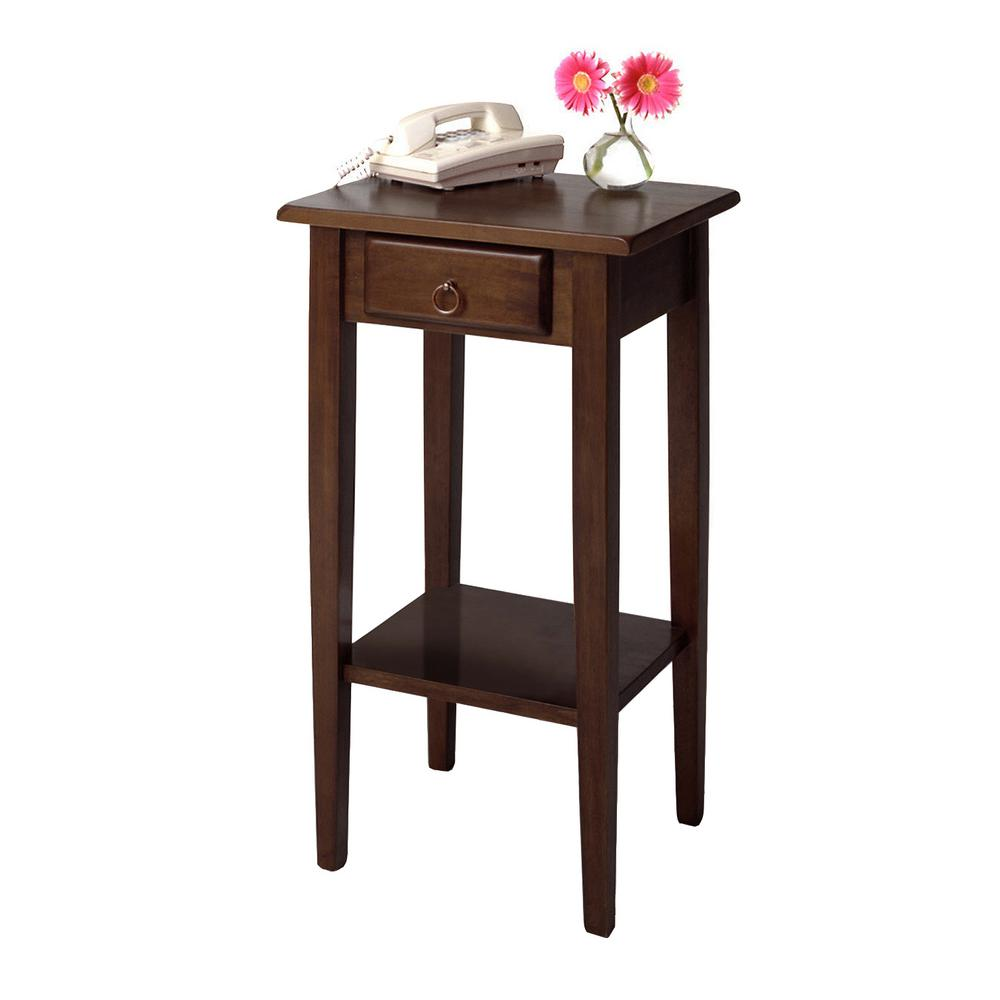 winsome regalia accent table with drawer walnut finish end tables drawers the west elm mallard lamp dining room centerpieces everyday small bar top pottery barn and chairs ikea