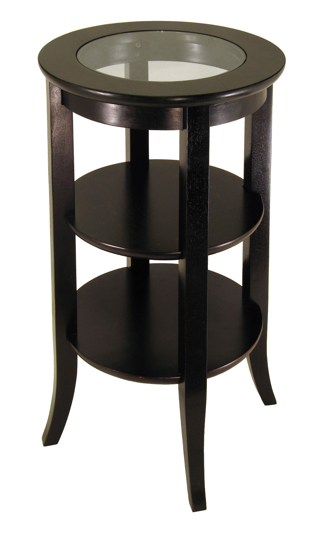 winsome sasha round accent table cappucino black genoa inset glass two shelves white marble top dining high patio with umbrella antique brass bar height drum coffee beach house