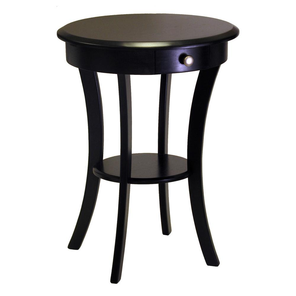 winsome sasha round accent table the black end tables target bar stools upcycled side with shelf modern bench entryway chest furniture jcpenney duvet covers dog grooming bath pier