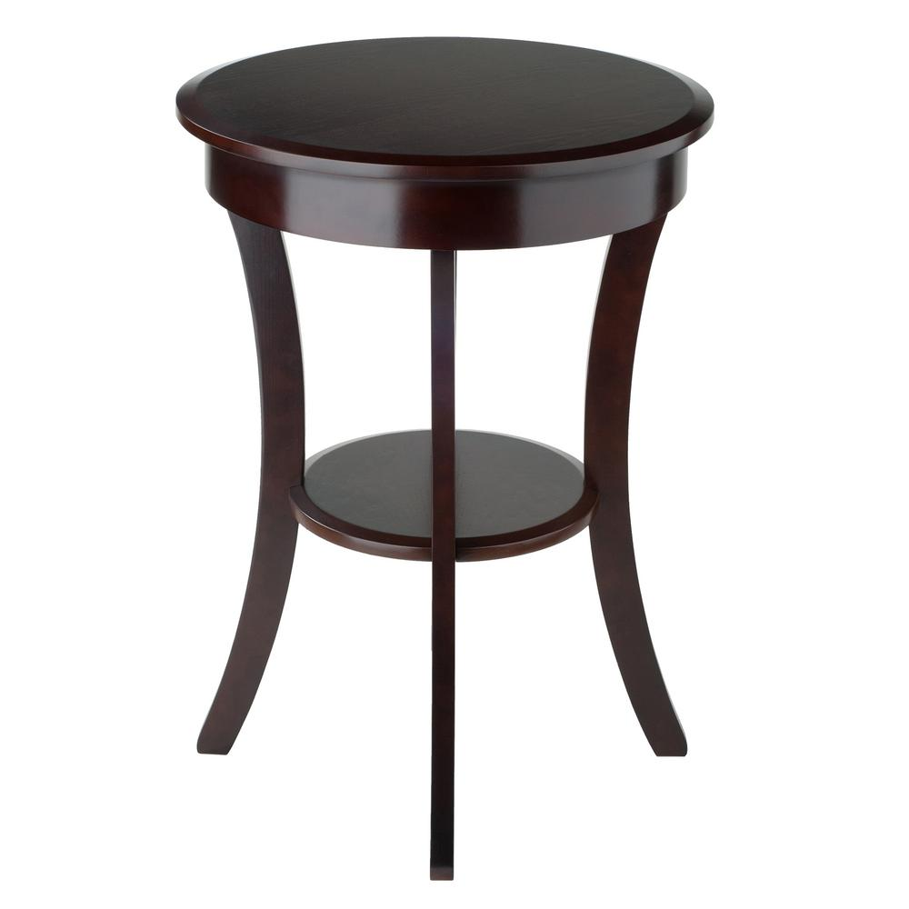 winsome sasha round accent table the cappuccino end tables modern living room chairs small square kitchen pottery barn target bar stools mission coffee fall runner patterns free