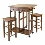 winsome space saver with stools square kitchen dining small drop leaf accent table marble room set canadian tire patio sets black side drawers terrace umbrella comfortable drum 150x150