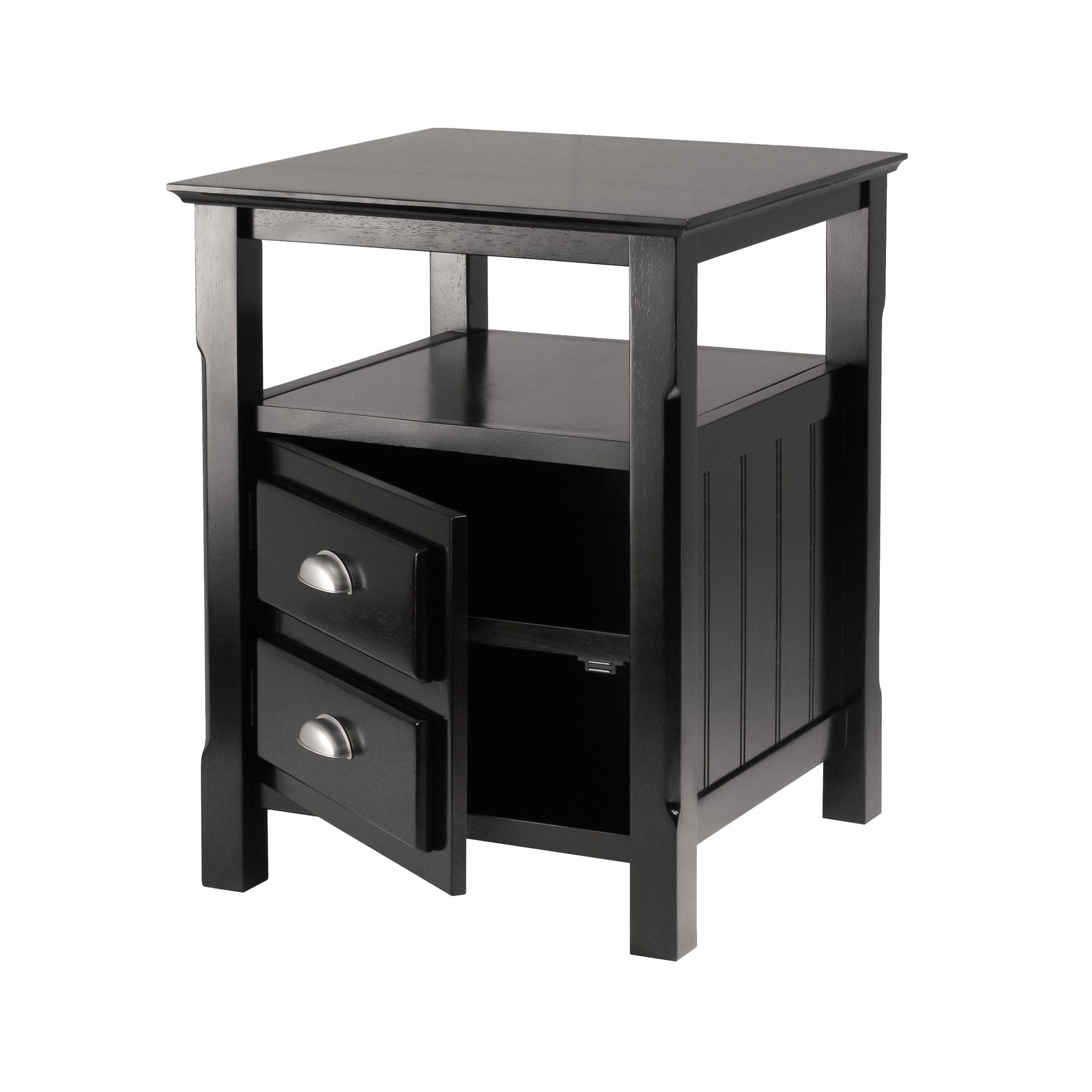 winsome timber open shelf night stand with drawer free wooden ava accent table black finish shipping today clearance couches inch wide console white garden furniture sets target