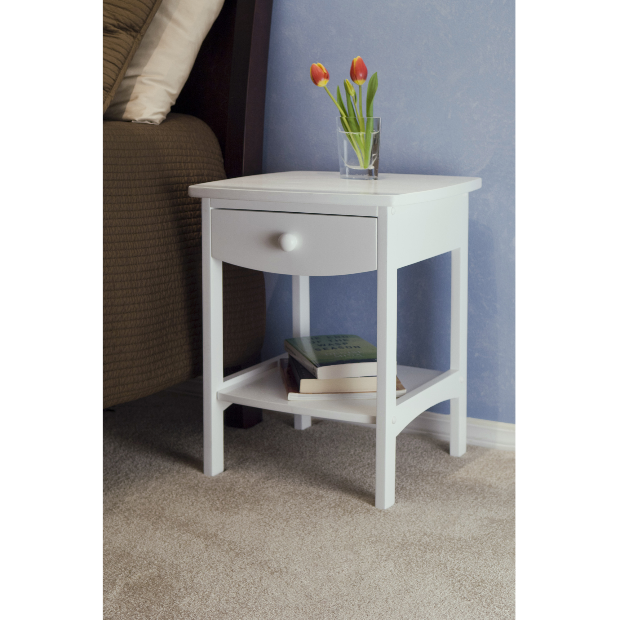 winsome trading curved drawer nightstand end table eugene accent espresso dale tiffany crystal lamps marble coffee gold legs hobby lobby craft natural cherry with usb charger
