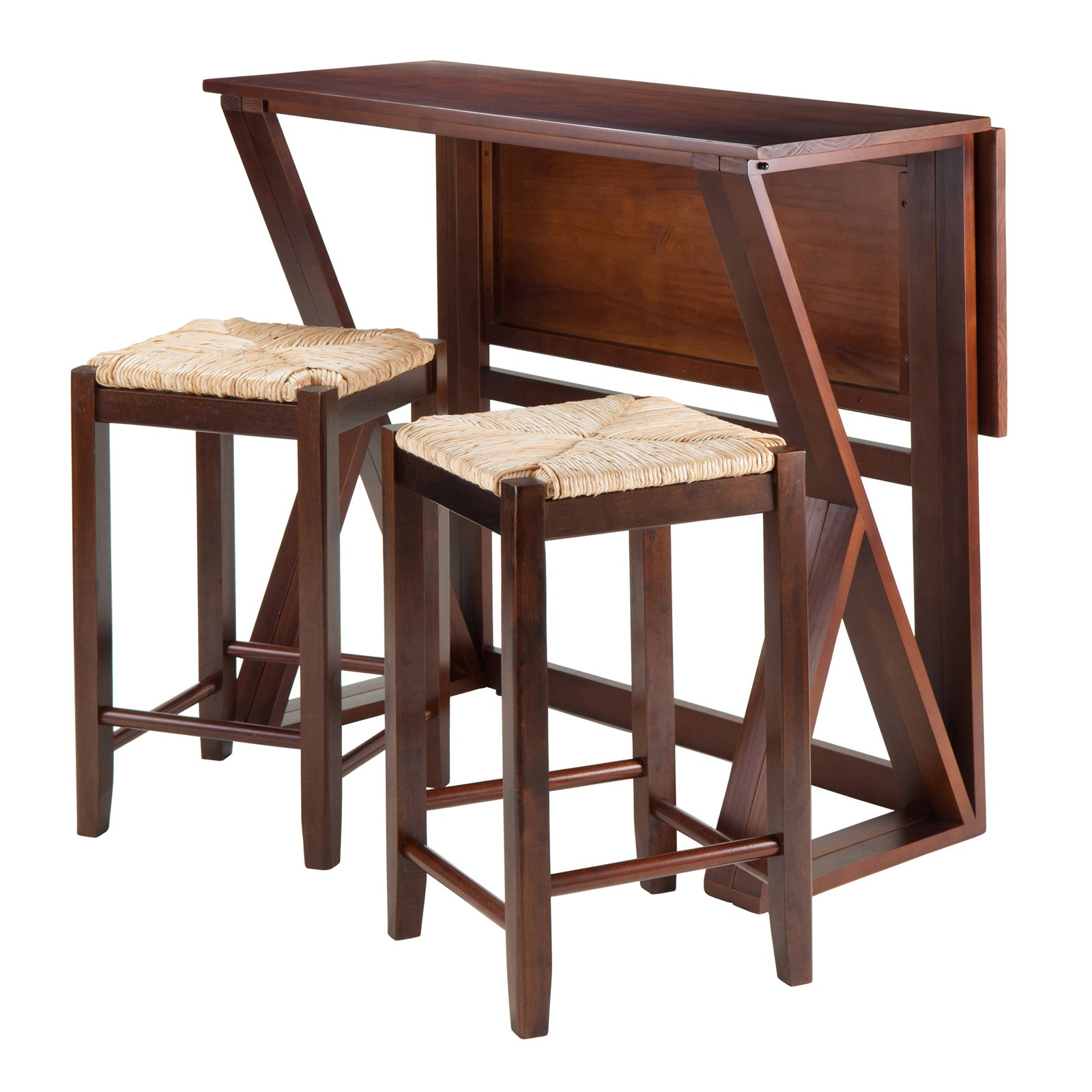 winsome trading harrington piece counter height dining table set master wood accent walnut with rush seat stools home goods website contemporary decor nautical reclaimed trestle