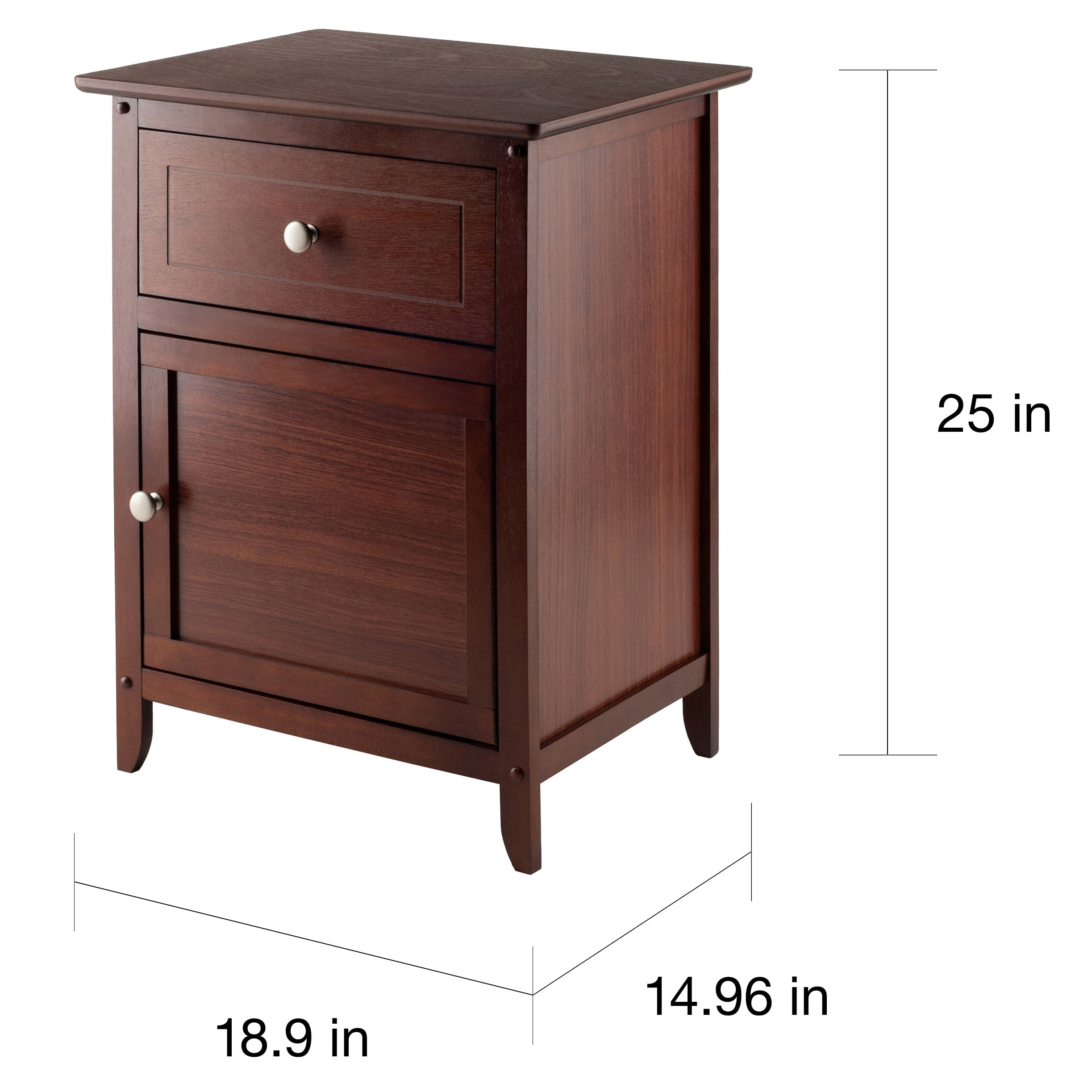 winsome walnut finish wood night stand with drawer and cabinet brown eugene accent table free shipping today red oriental lamps pastel furniture brass coffee outdoor patio chairs