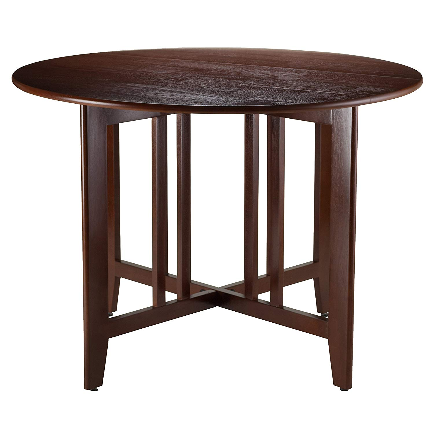 winsome wood alamo double drop leaf round accent table with screw legs mission walnut inch tables ikea kallax boxes stratford wicker folding bronze white chairside end garden