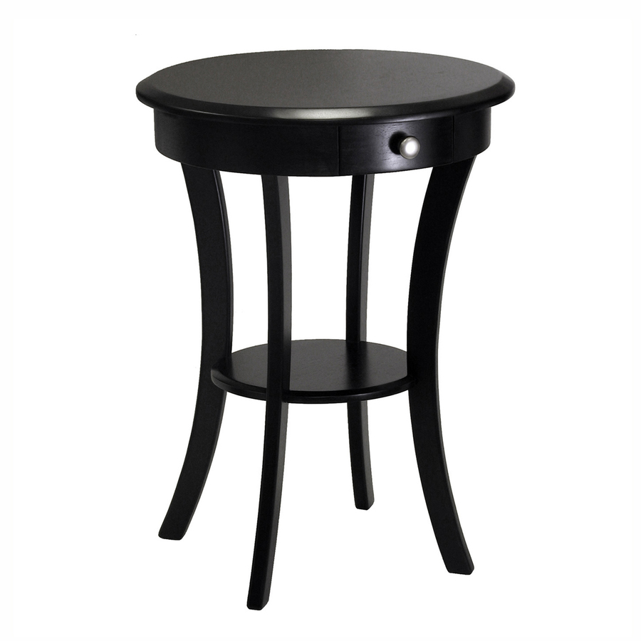 winsome wood black round end table wall metal accent patio base waterproof outdoor chair covers leick chairside pub style kitchen tiny small leaf drawer pulls and knobs vintage