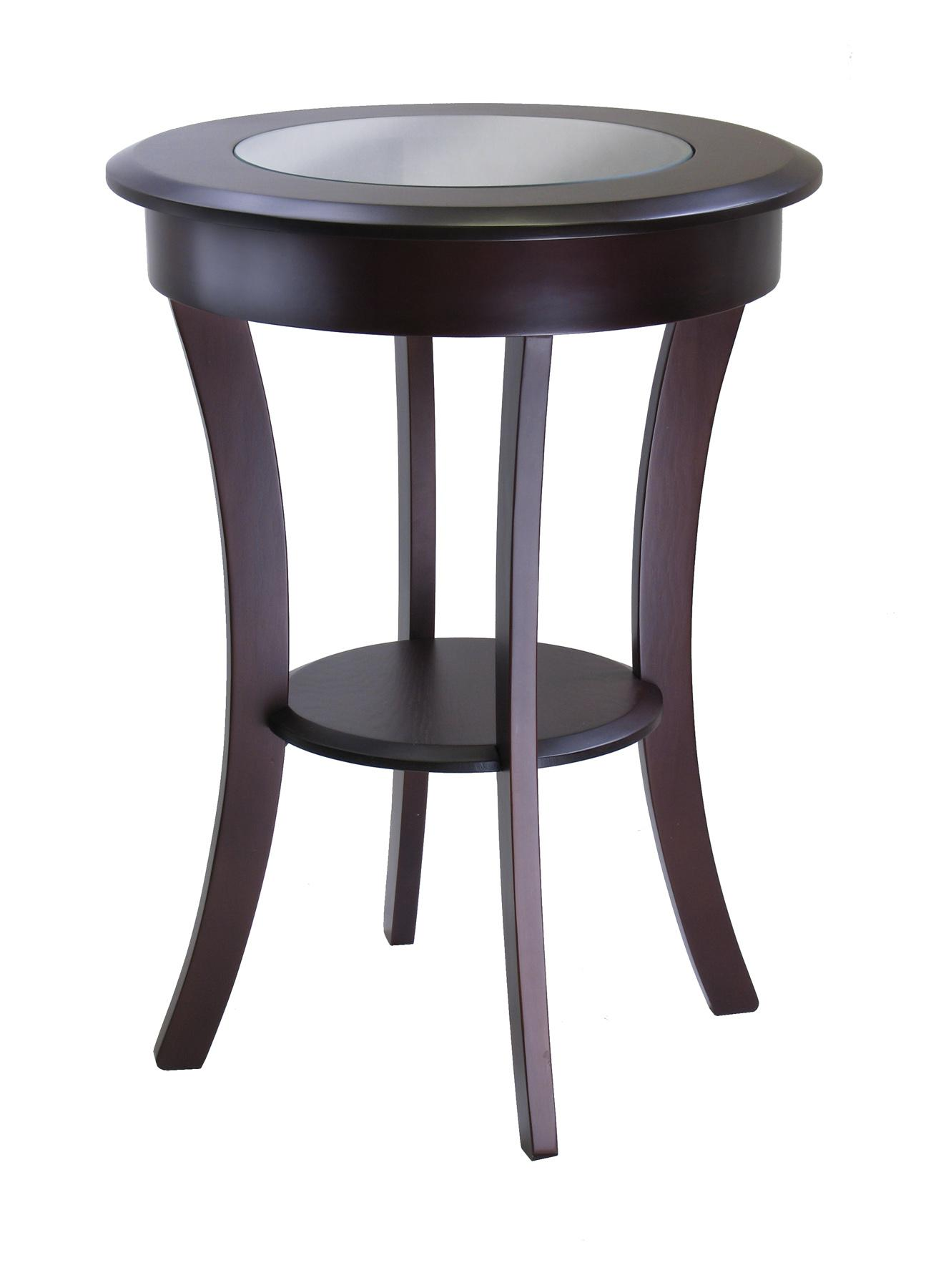 winsome wood cassie round accent table with glass ojcommerce gray uttermost laton mirrored antique wheels for coffee dining pedestal base only knotty pine bar stools cocktail and