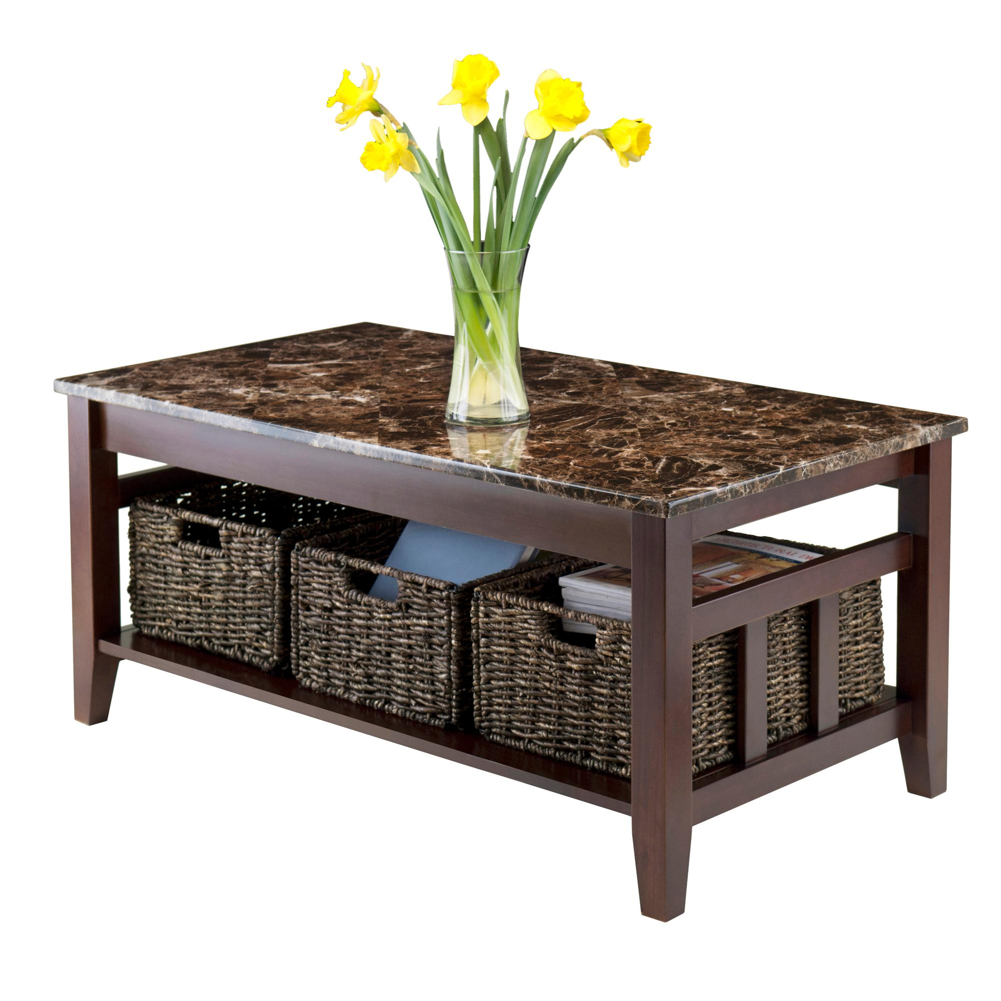 winsome wood faux marble top zoey coffee table kitchen rustic walnut end tables view larger inch tall lamps wide black pool patio furniture wooden litter box dining room runners