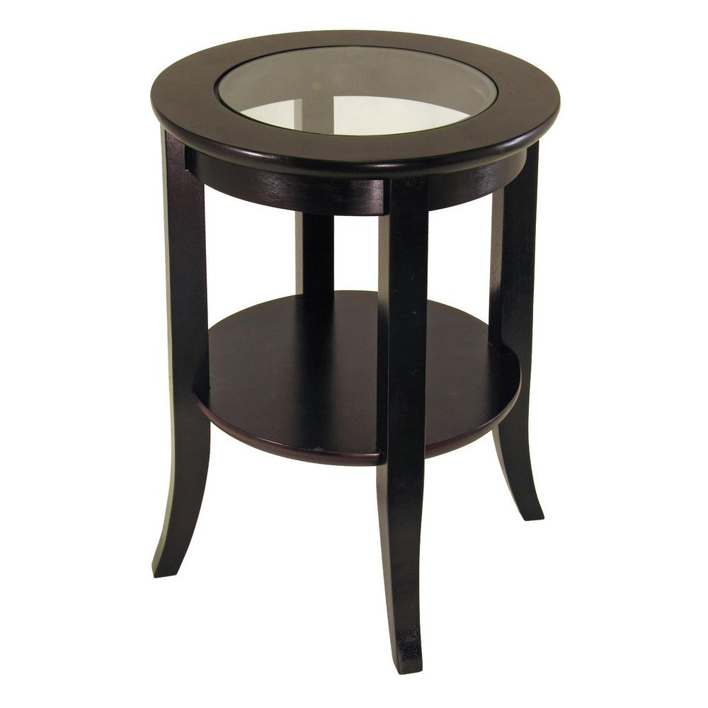 winsome wood genoa espresso glass top end table the tables cassie accent with cappuccino finish cordless battery lamps outdoor patio furniture clearance for small rooms skirting
