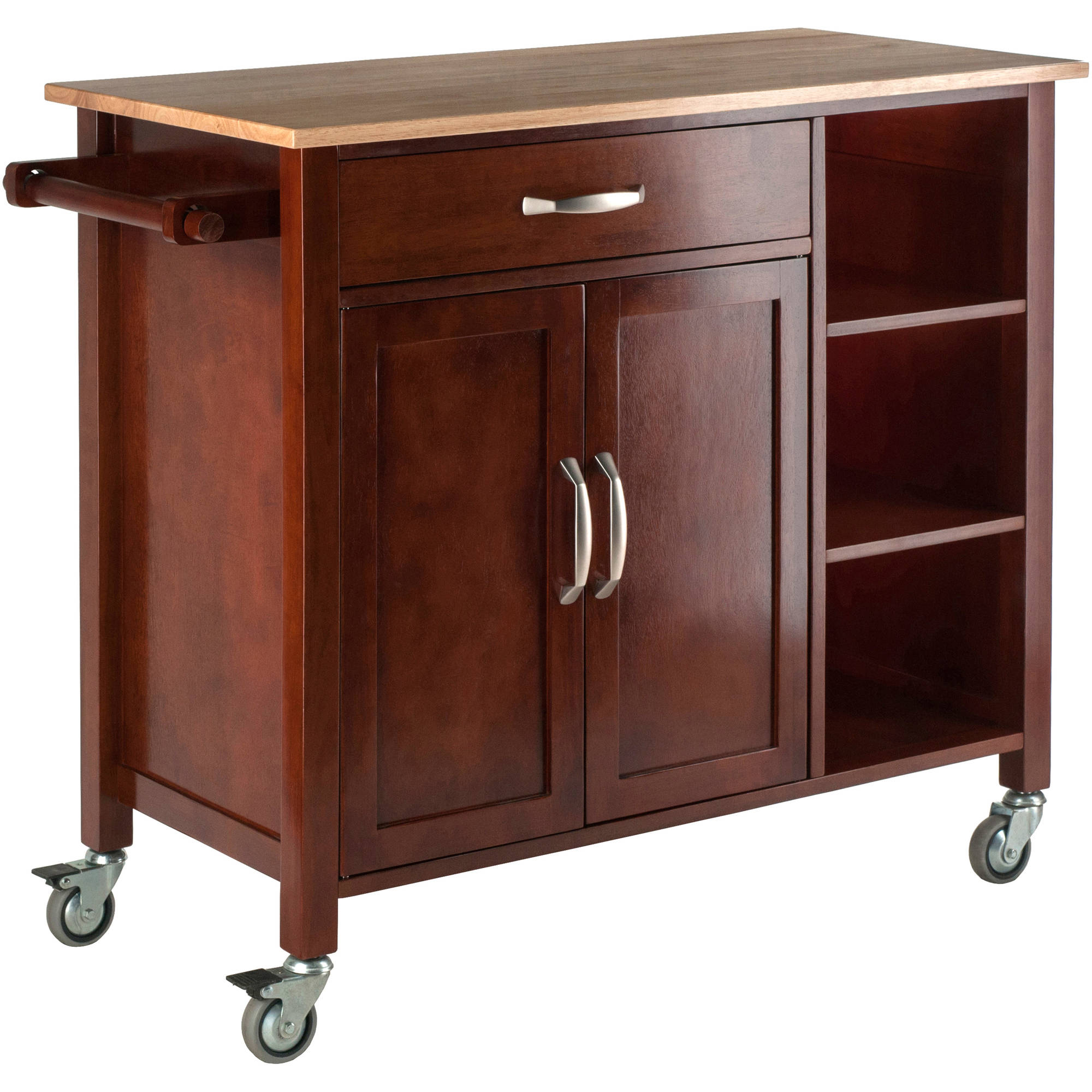 winsome wood mabel utility kitchen cart walnut natural accent table basement furniture console with drawers unfinished bedside home lamps ikea patio sheesham dining black and