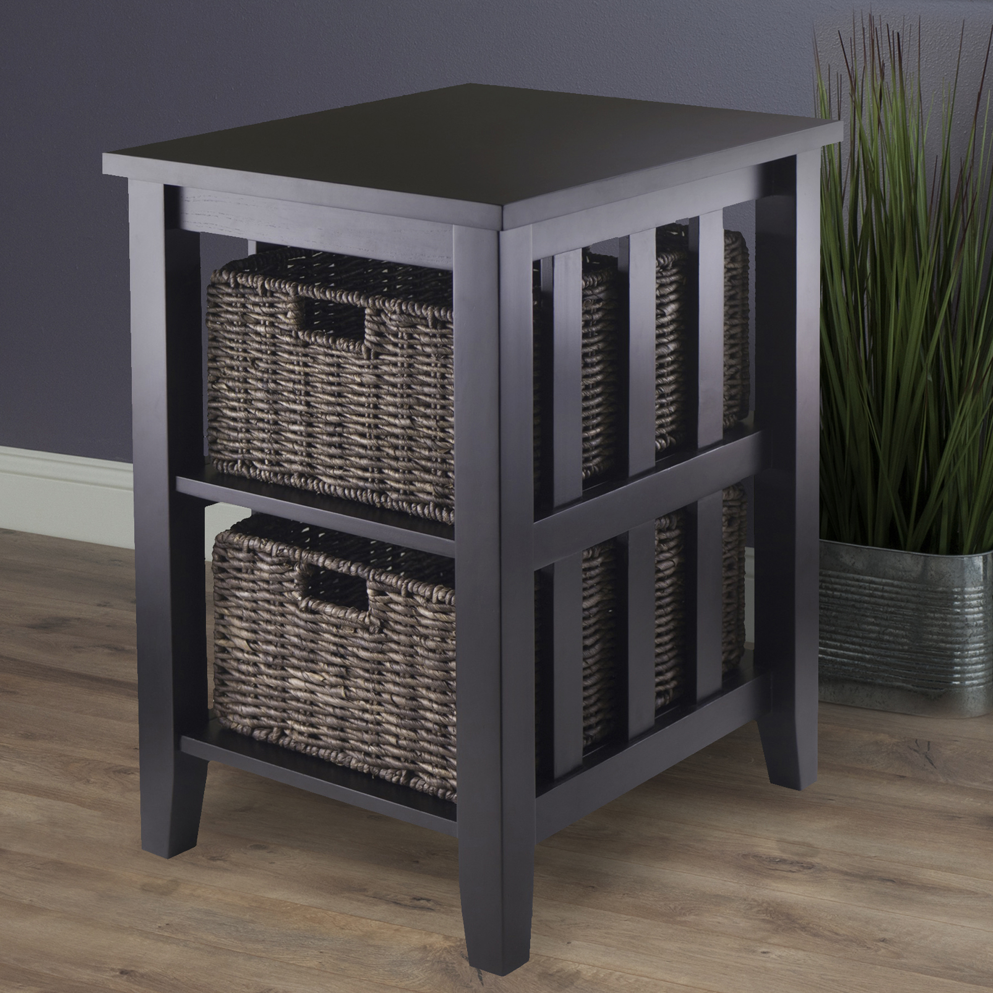 winsome wood morris accent table with storage baskets espresso finish compact office desk black sideboard stone top coffee sets dining runners and placemats small round occasional