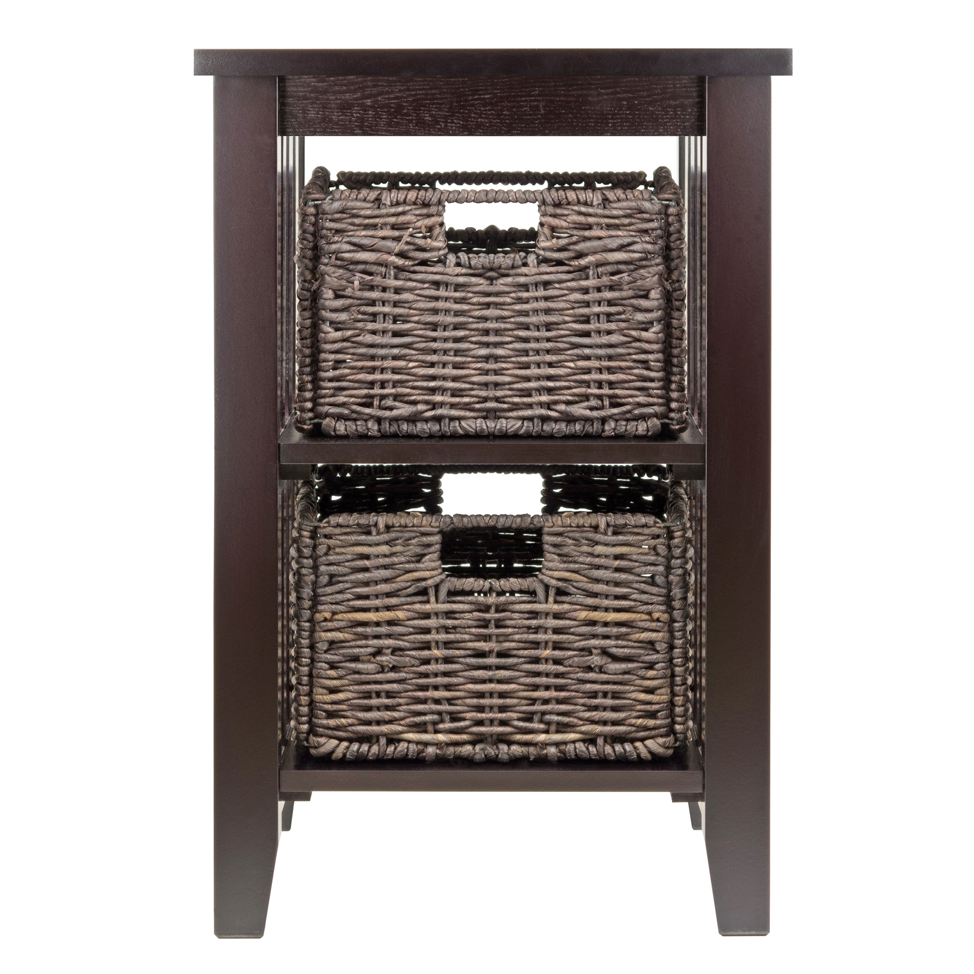 winsome wood morris accent table with storage baskets espresso foldable wicker brown finish bistro height marble and chrome coffee round living room rustic ikea black bedside tiny
