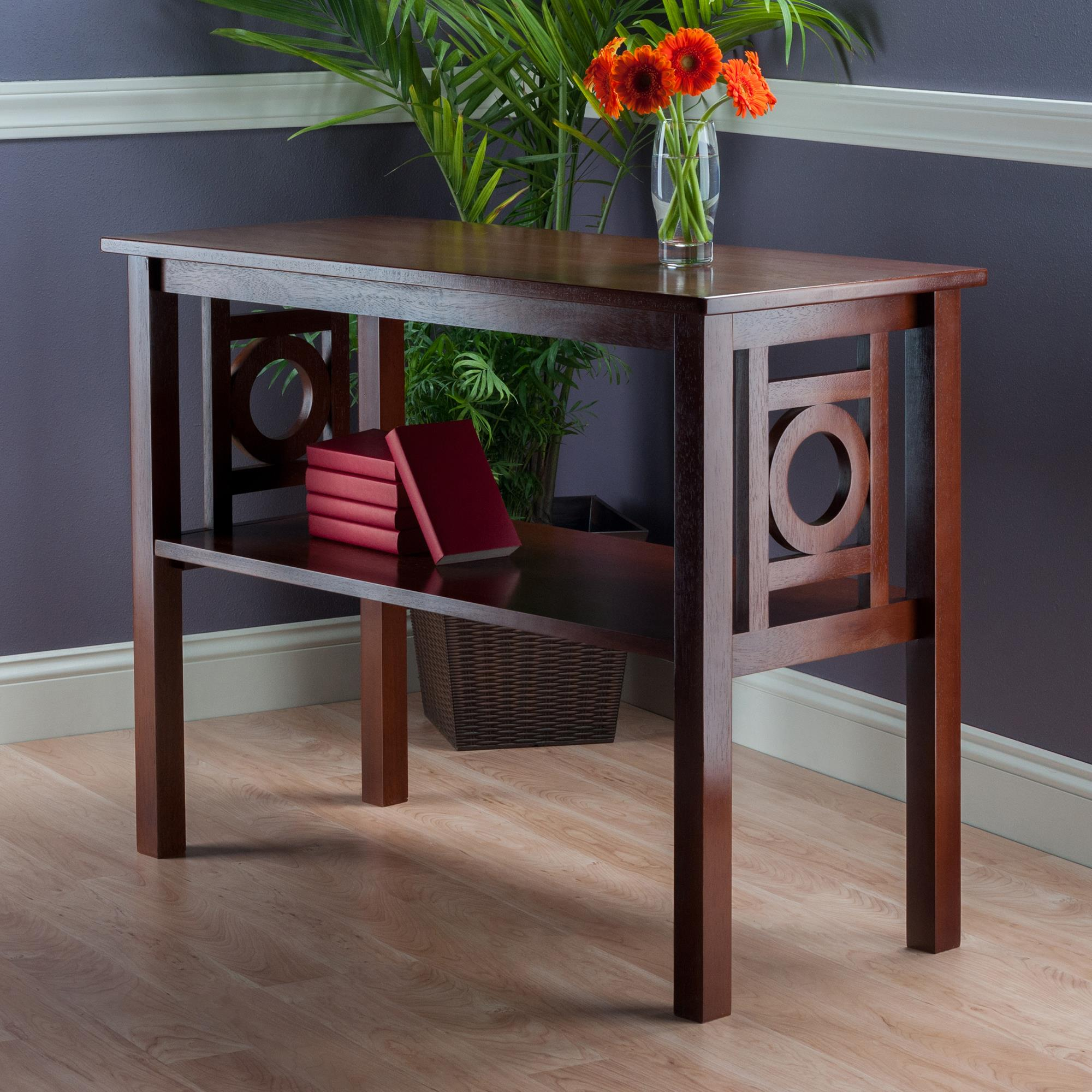 winsome wood ollie console table walnut ojcommerce roomsetting tab accent battery operated indoor lamps basement furniture waterproof cover for garden and chairs upholstered chair