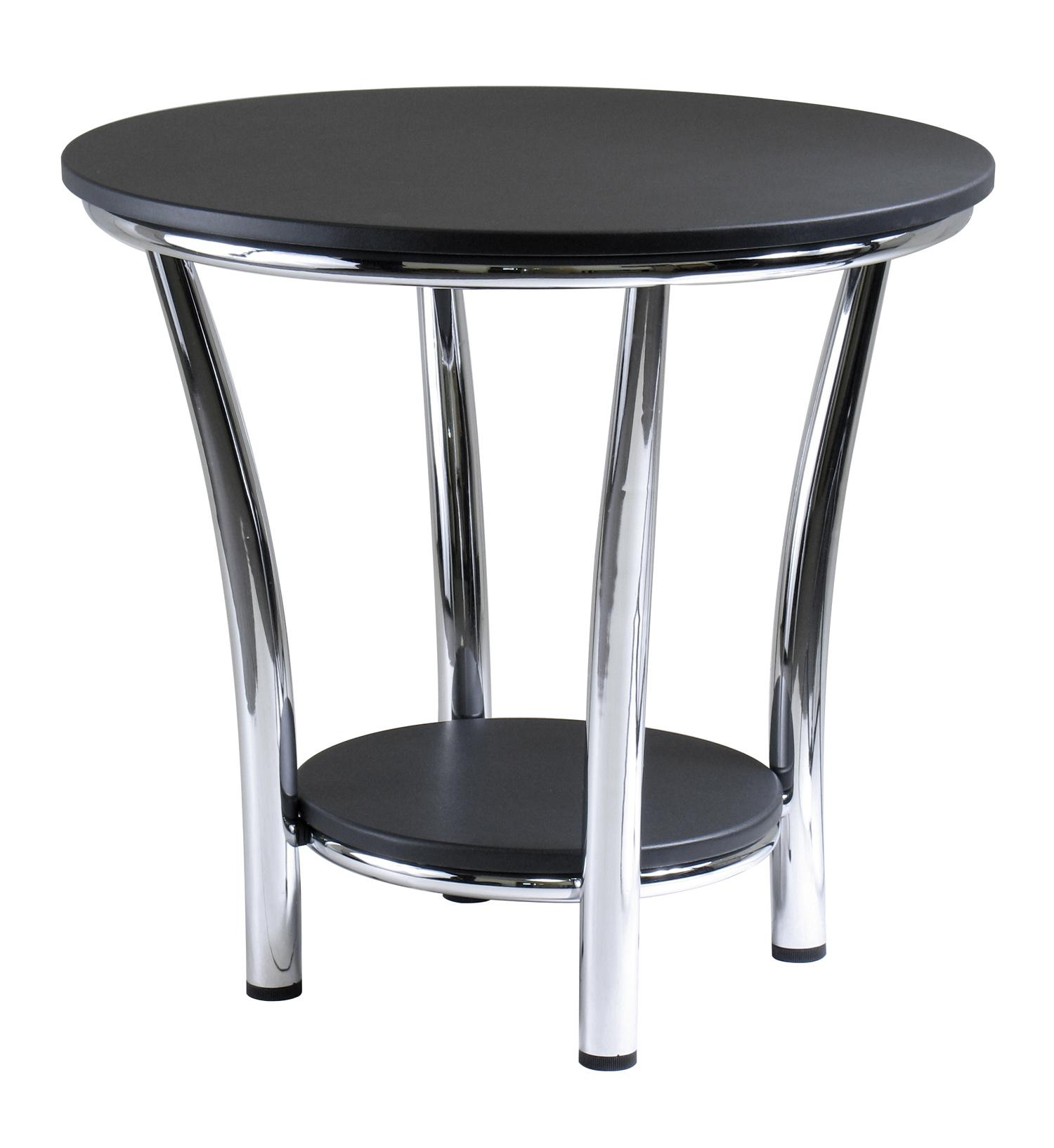 winsome wood round end table black top metal legs accent modern contemporary coffee fine linens brown leather chair glass light shades outdoor furniture winnipeg teal bedroom sets
