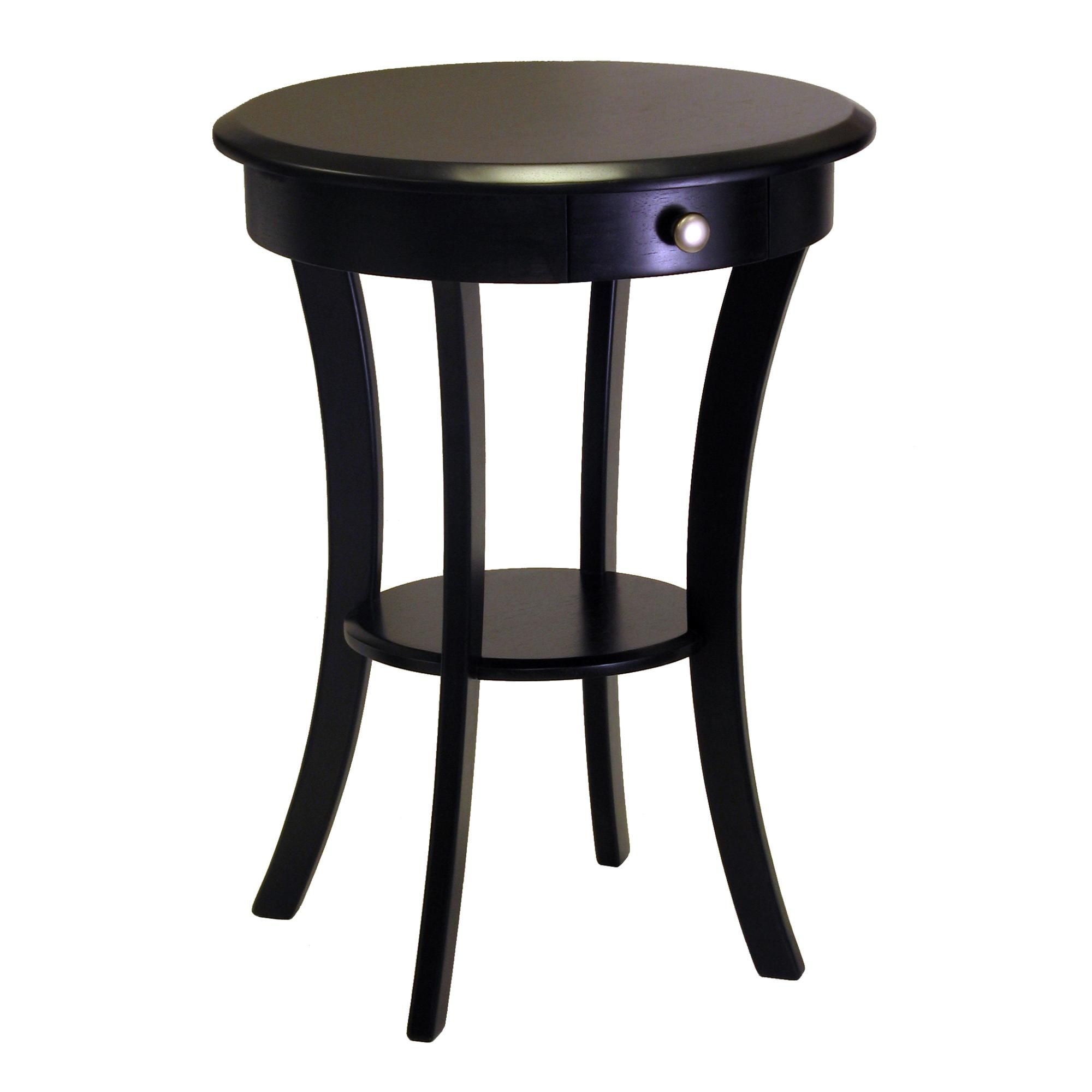 winsome wood round table with drawer and shelf black mainstays accent side simple design coffee faux fur saucer chair home garden furniture other accents hairpin leg end african